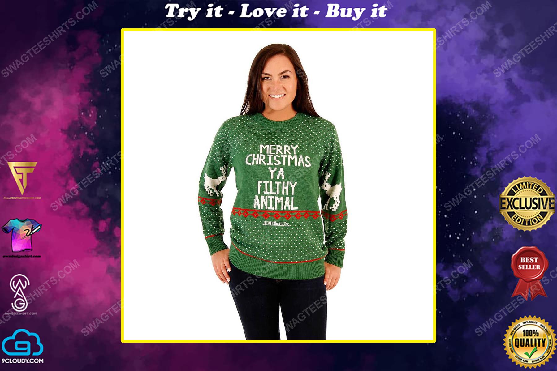 Merry christmas ya filthy animal reindeer full print ugly christmas sweater