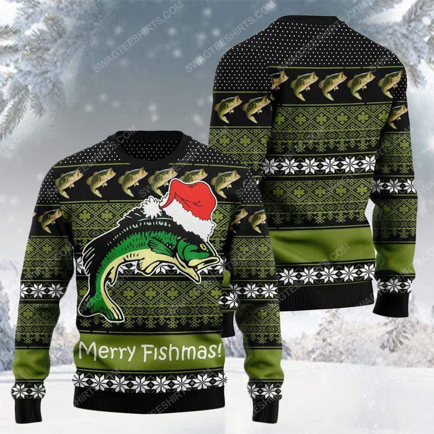 Merry fishmas for fishing all over print ugly christmas sweater 2 - Copy