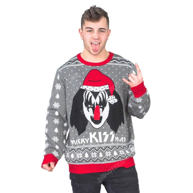 Merry kiss mas flappy kiss rock band full print ugly christmas sweater 3 - Copy
