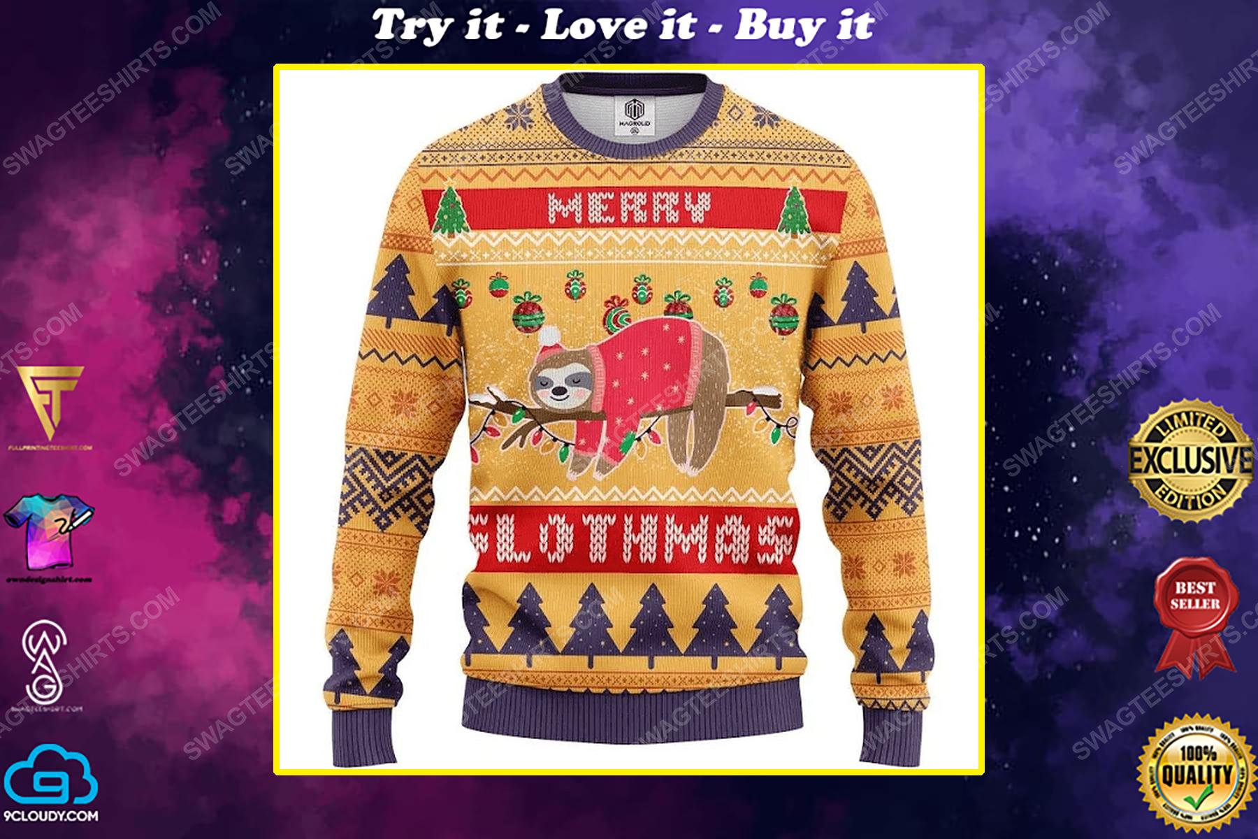 Merry slothmas all over print ugly christmas sweater