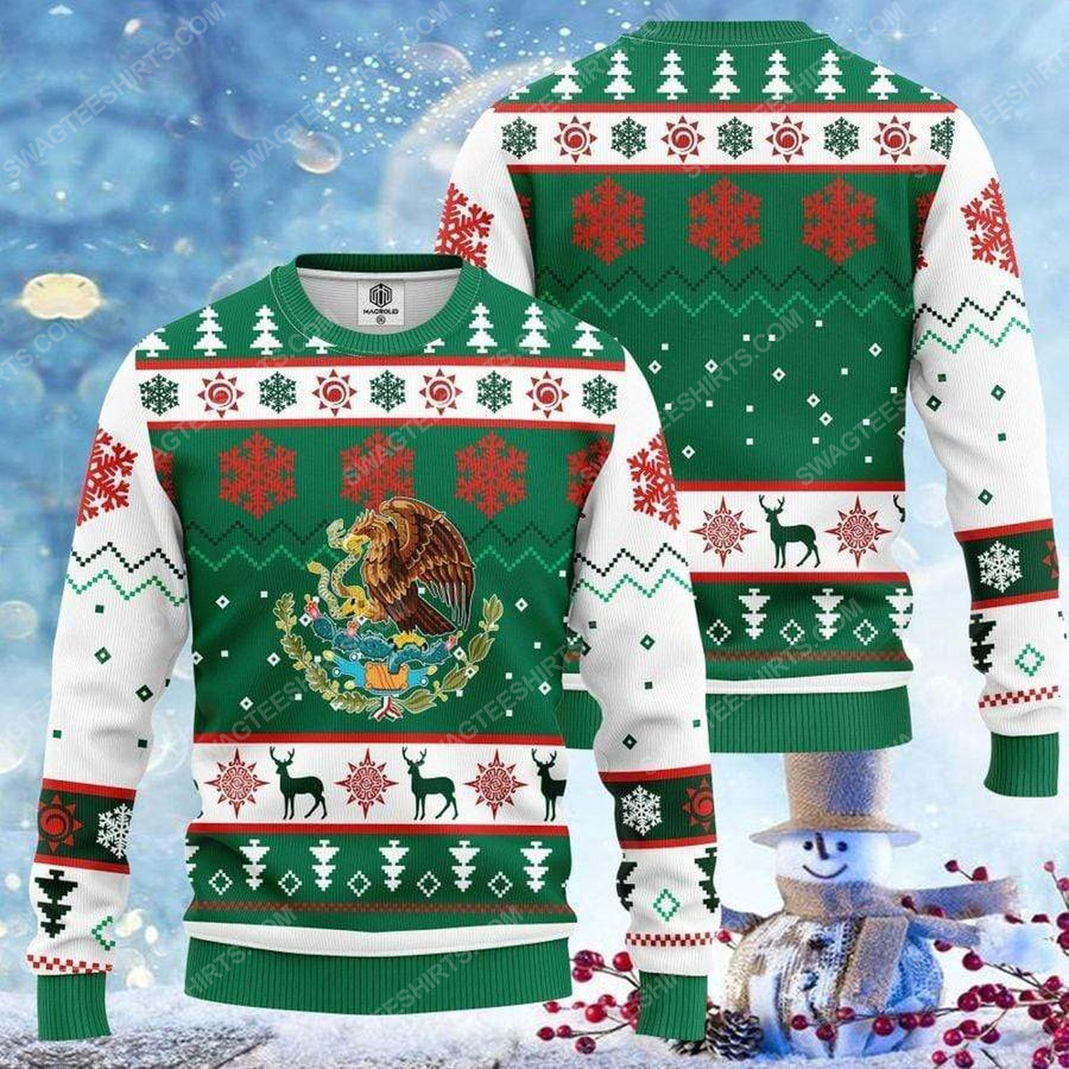Mexico flag and snowflakes all over print ugly christmas sweater 2 - Copy