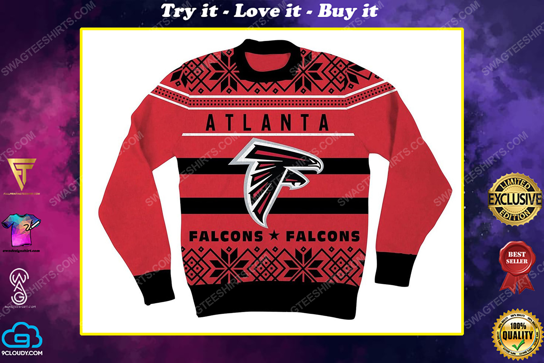 NFL atlanta falcons full print ugly christmas sweater