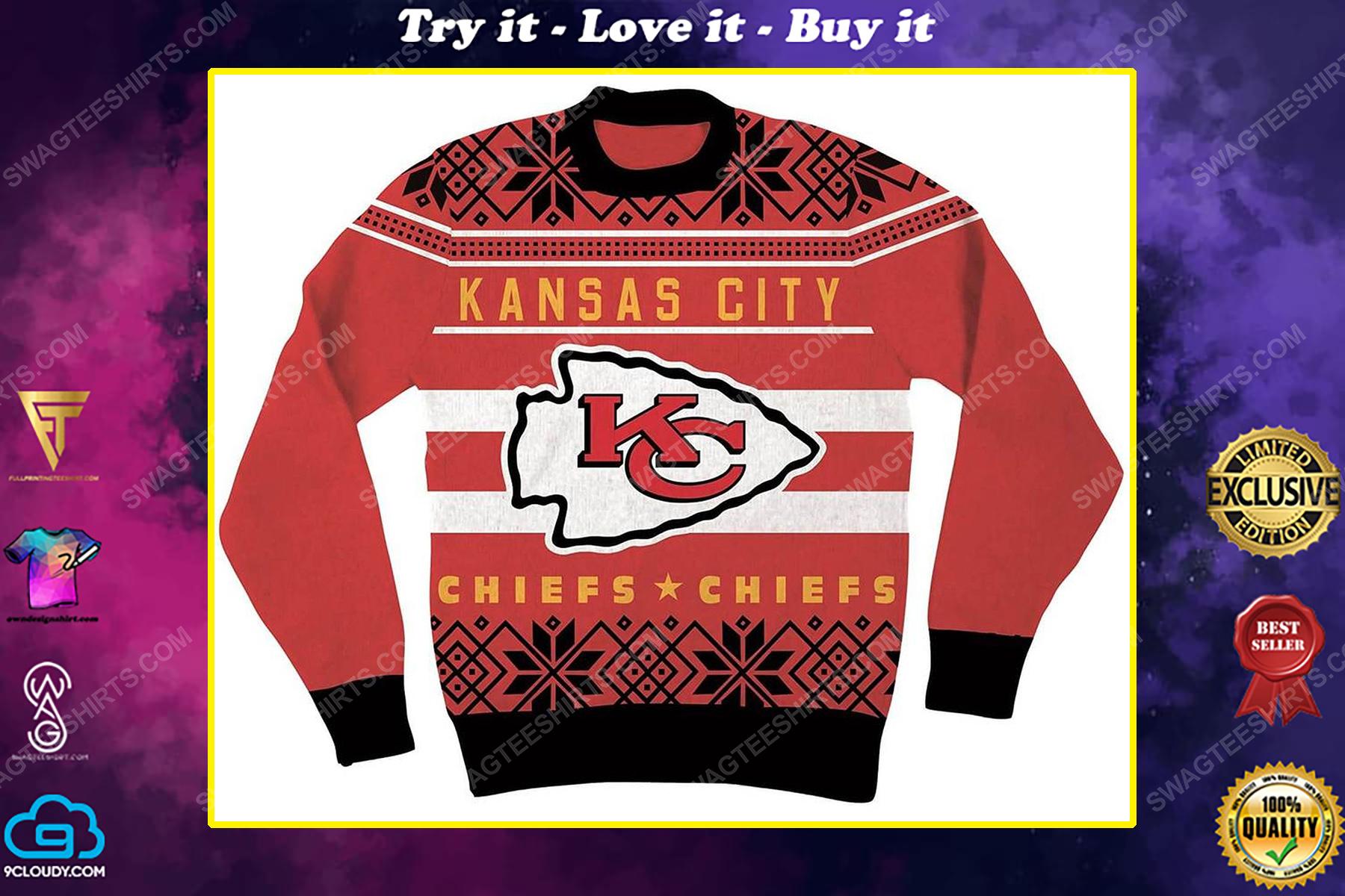 NFL kansas city chiefs full print ugly christmas sweater