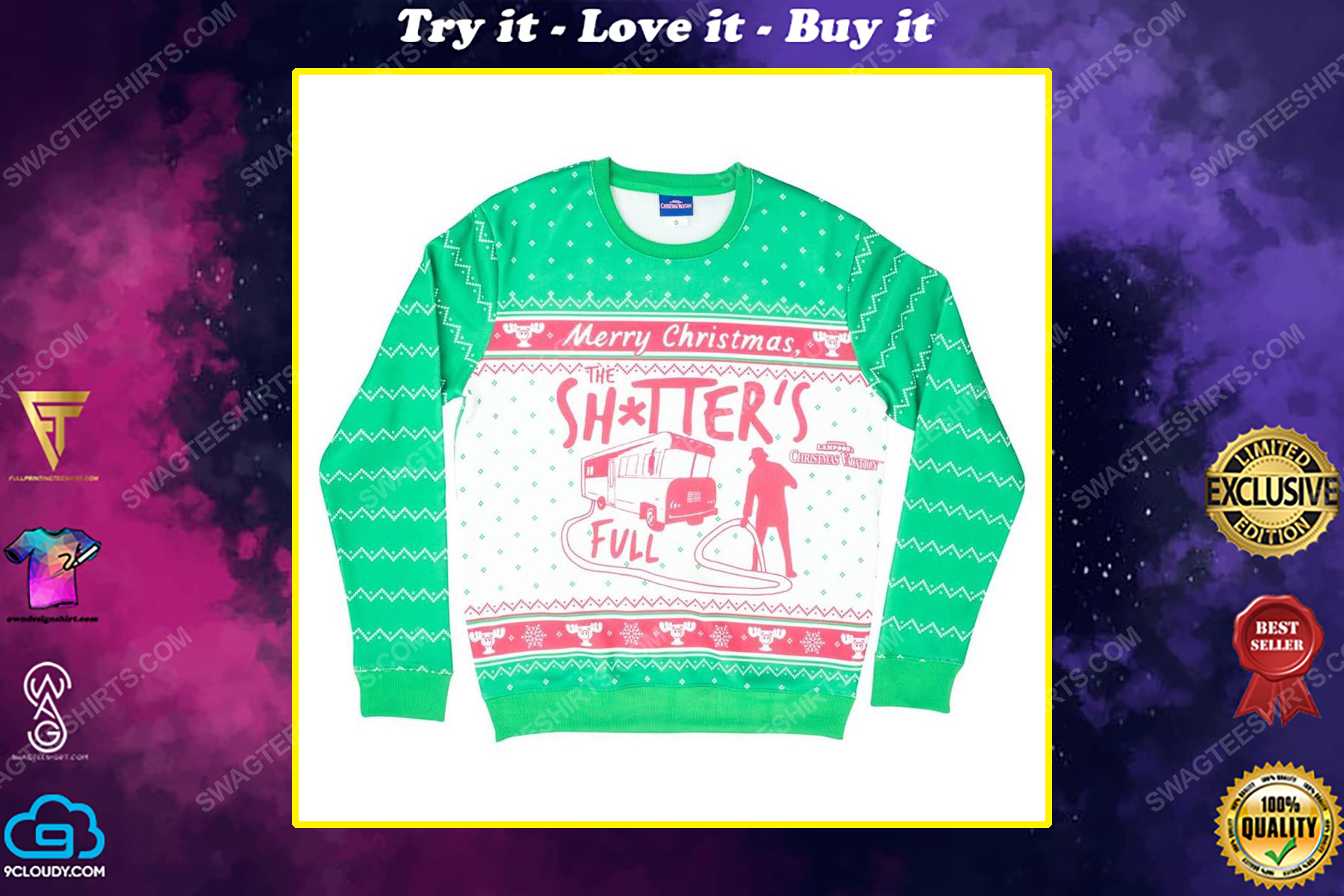 National lampoon's christmas vacation merry christmas shitter was full ugly christmas sweater