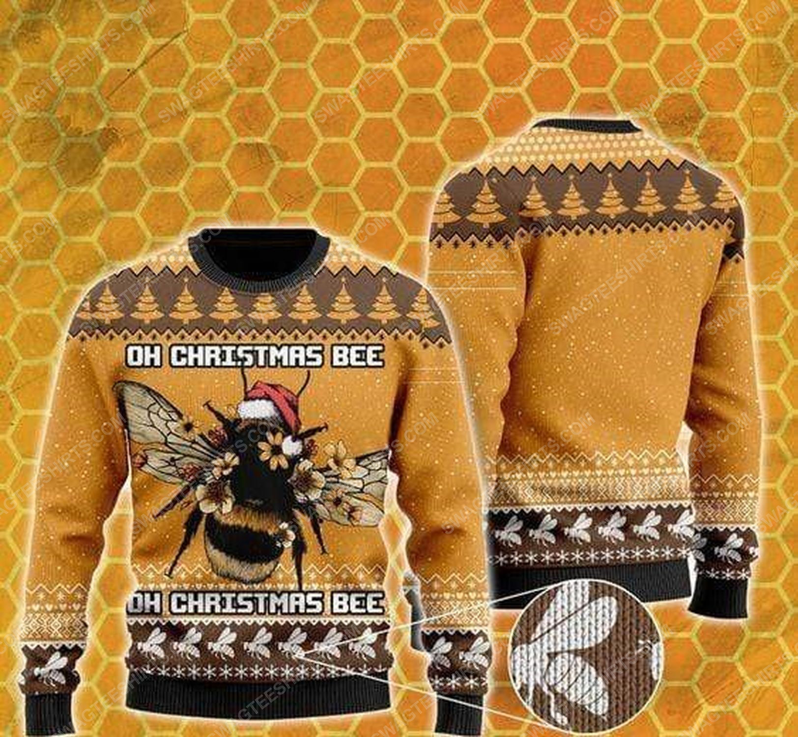 Oh christmas bee all over print ugly christmas sweater 1