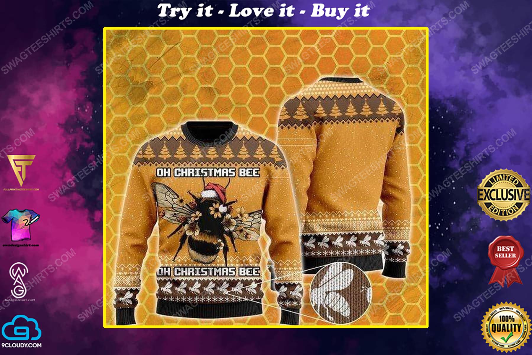 Oh christmas bee all over print ugly christmas sweater
