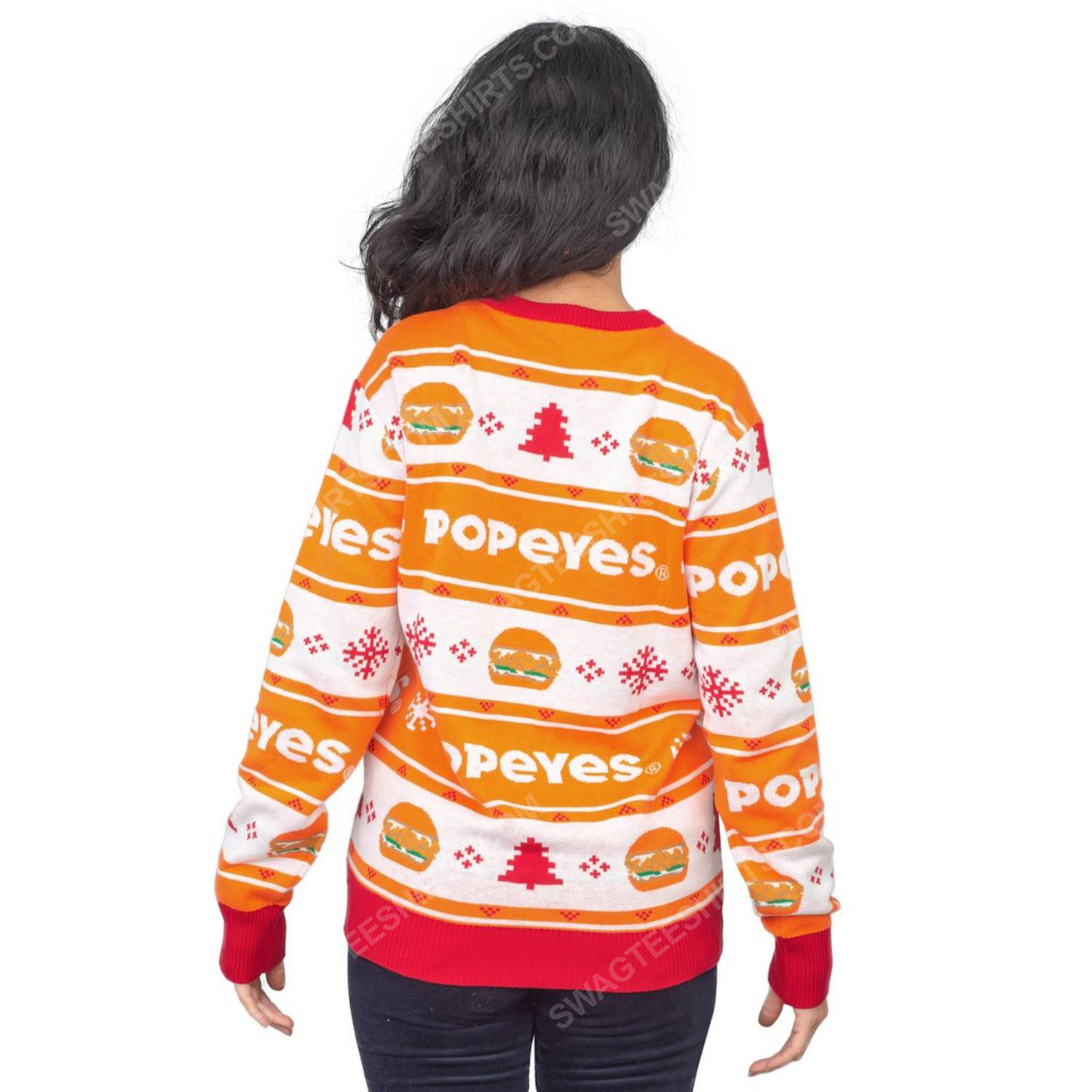 Popeyes burger full print ugly christmas sweater 5