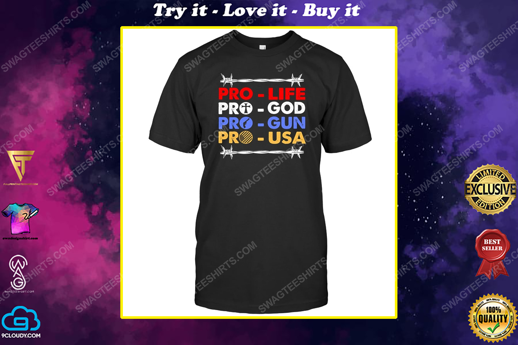 Pro life pro god pro gun pro usa political shirt