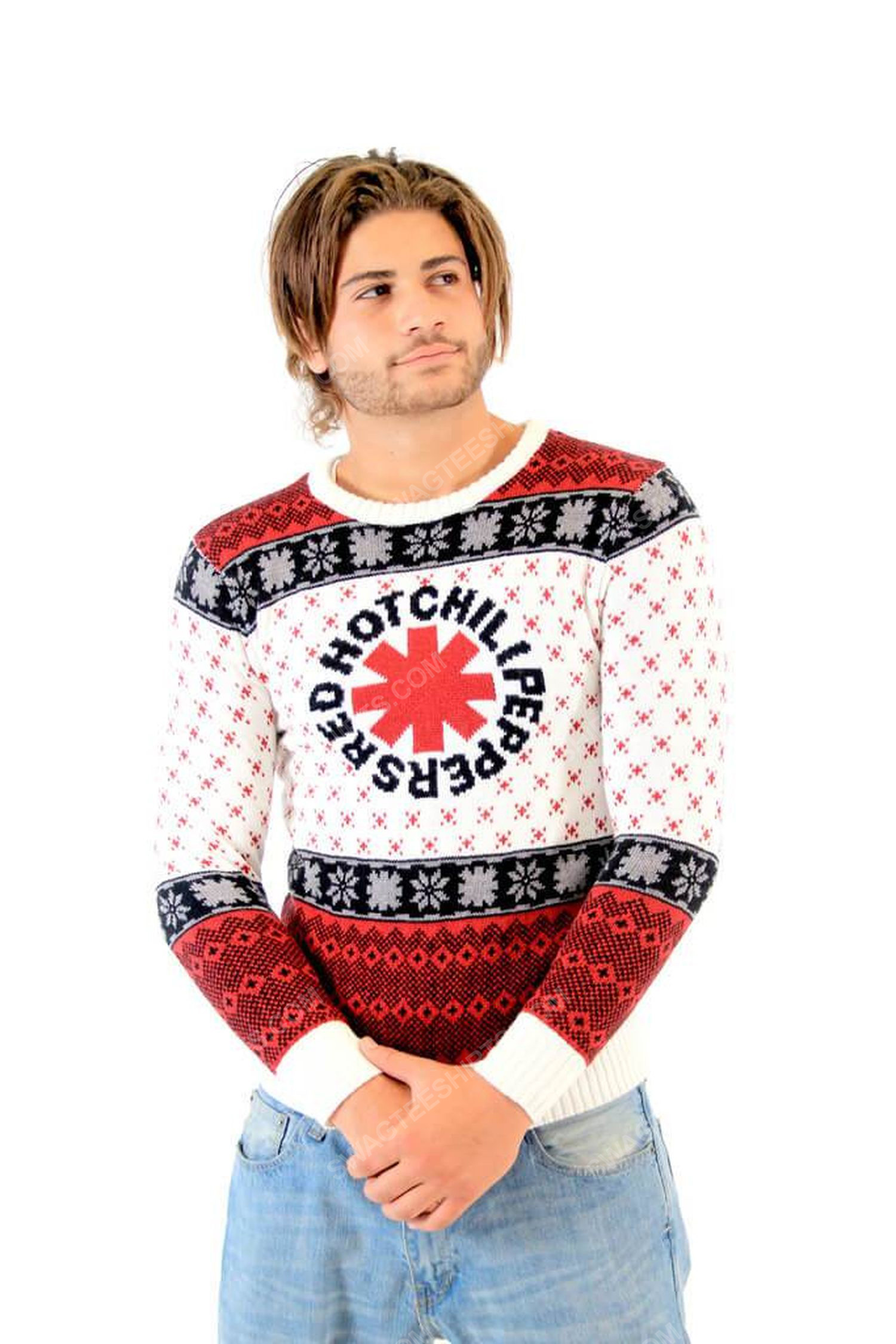 Red hot chili peppers full print ugly christmas sweater 2
