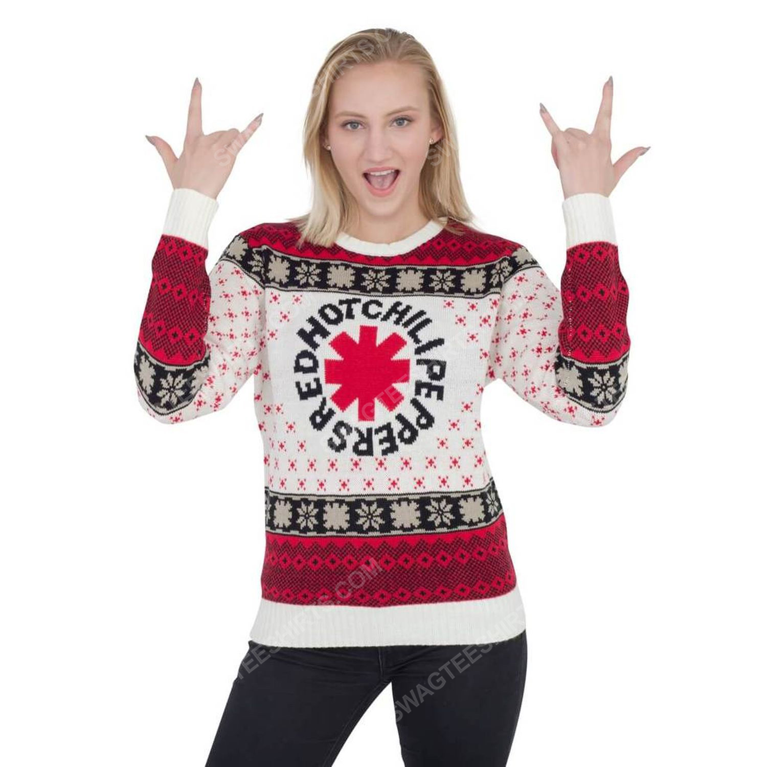 Red hot chili peppers full print ugly christmas sweater 3