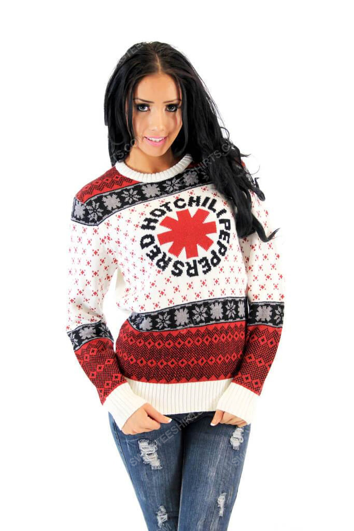 Red hot chili peppers full print ugly christmas sweater 4