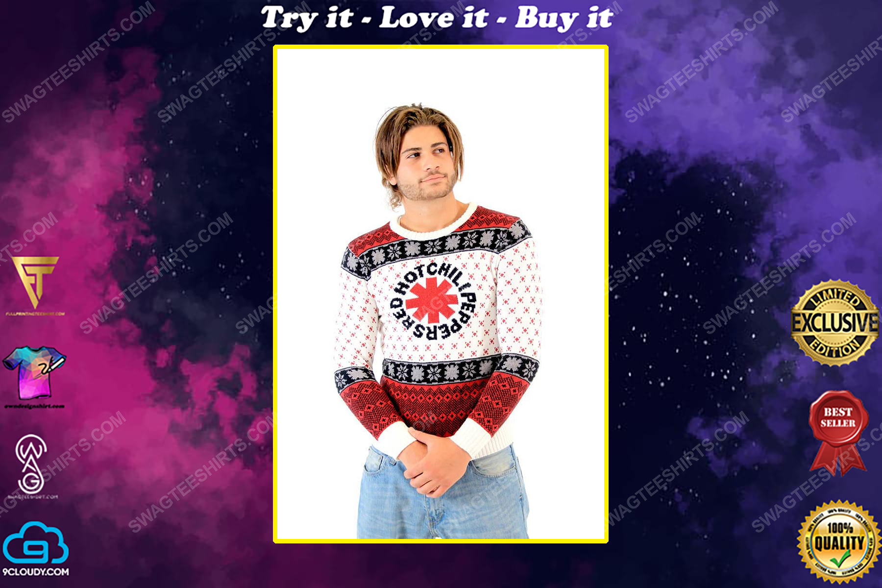 Red hot chili peppers full print ugly christmas sweater
