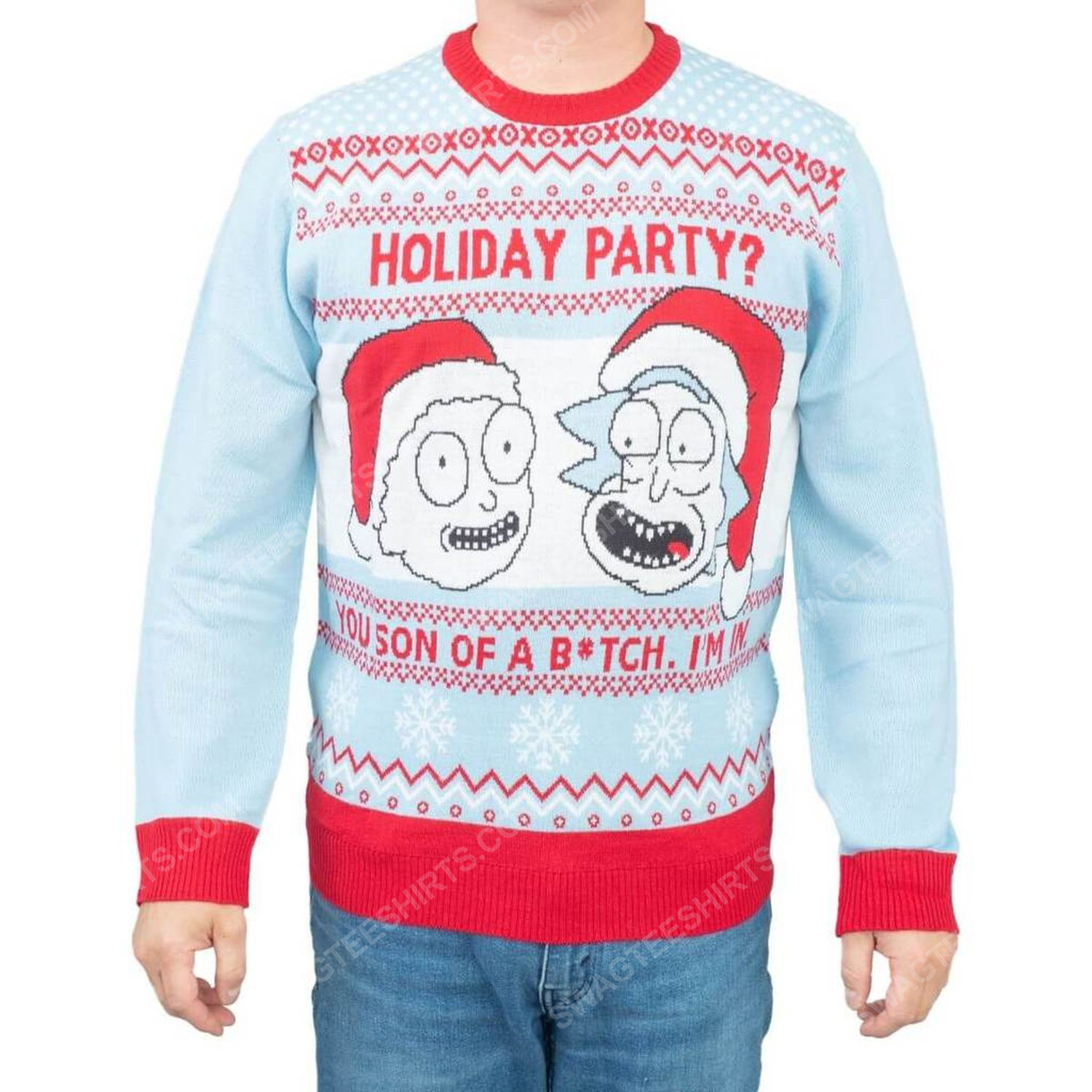 Rick and morty holiday party you son of a bitch i'm in full print ugly christmas sweater 2