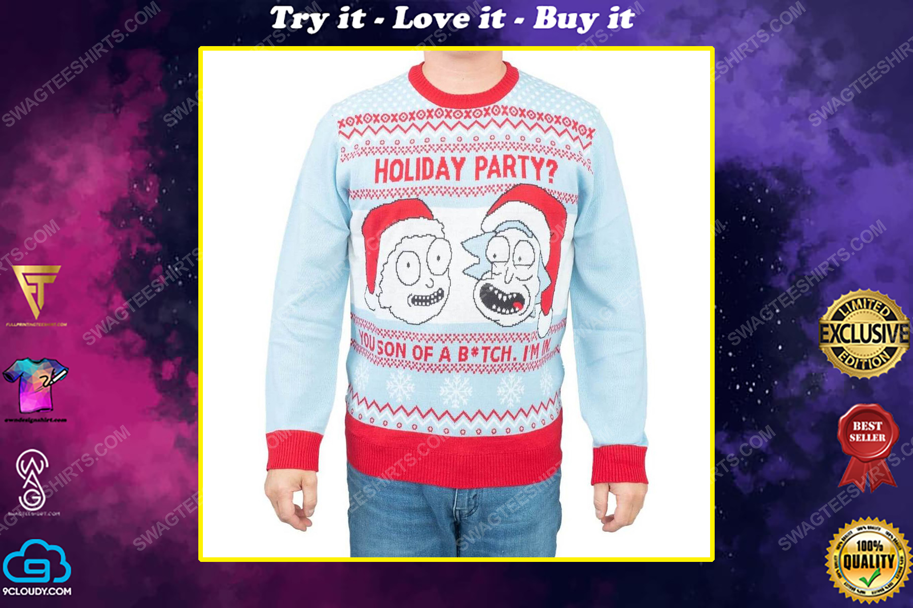 Rick and morty holiday party you son of a bitch i'm in full print ugly christmas sweater