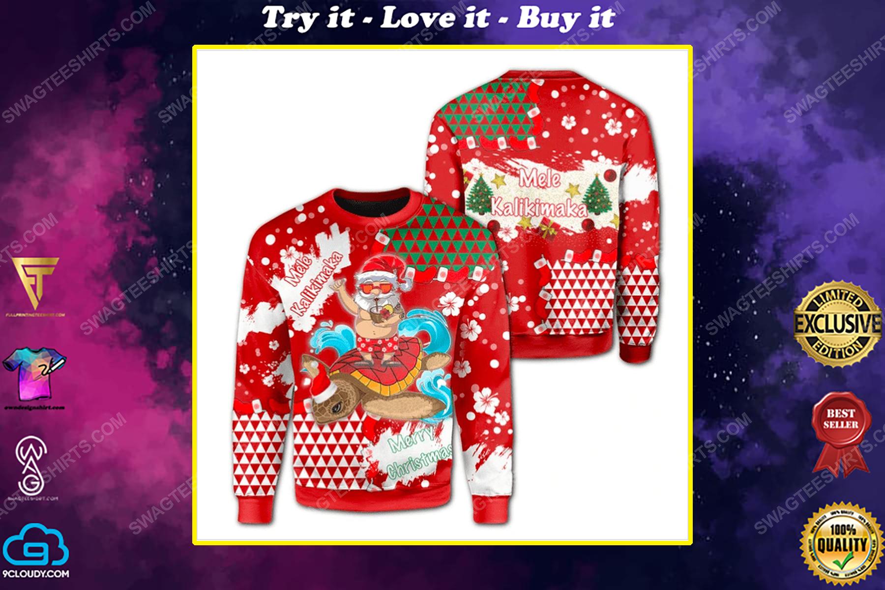 Santa surfing mele kalikimaka ugly christmas sweater