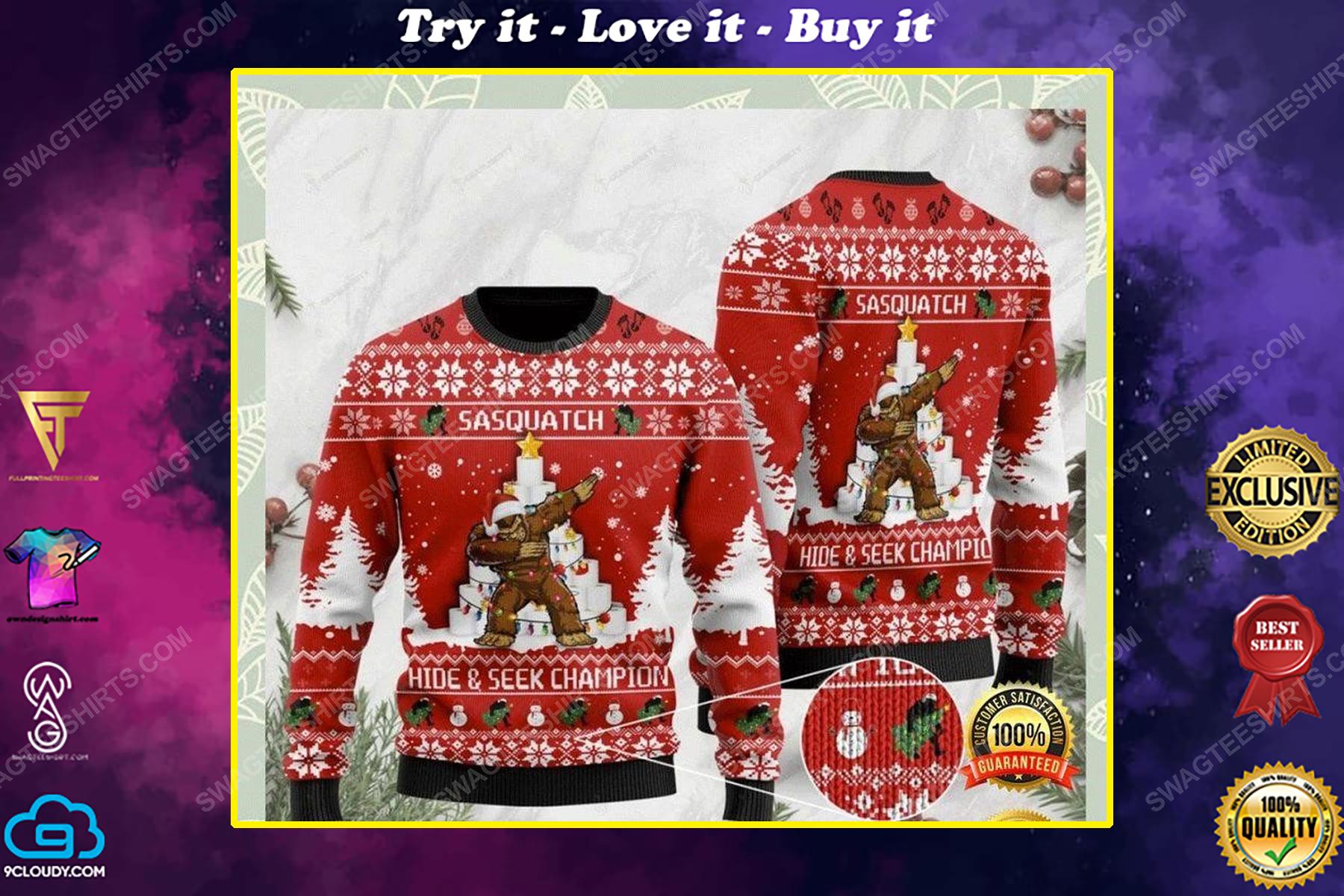 Sasquatch bigfoot hide and seek champion ugly christmas sweater