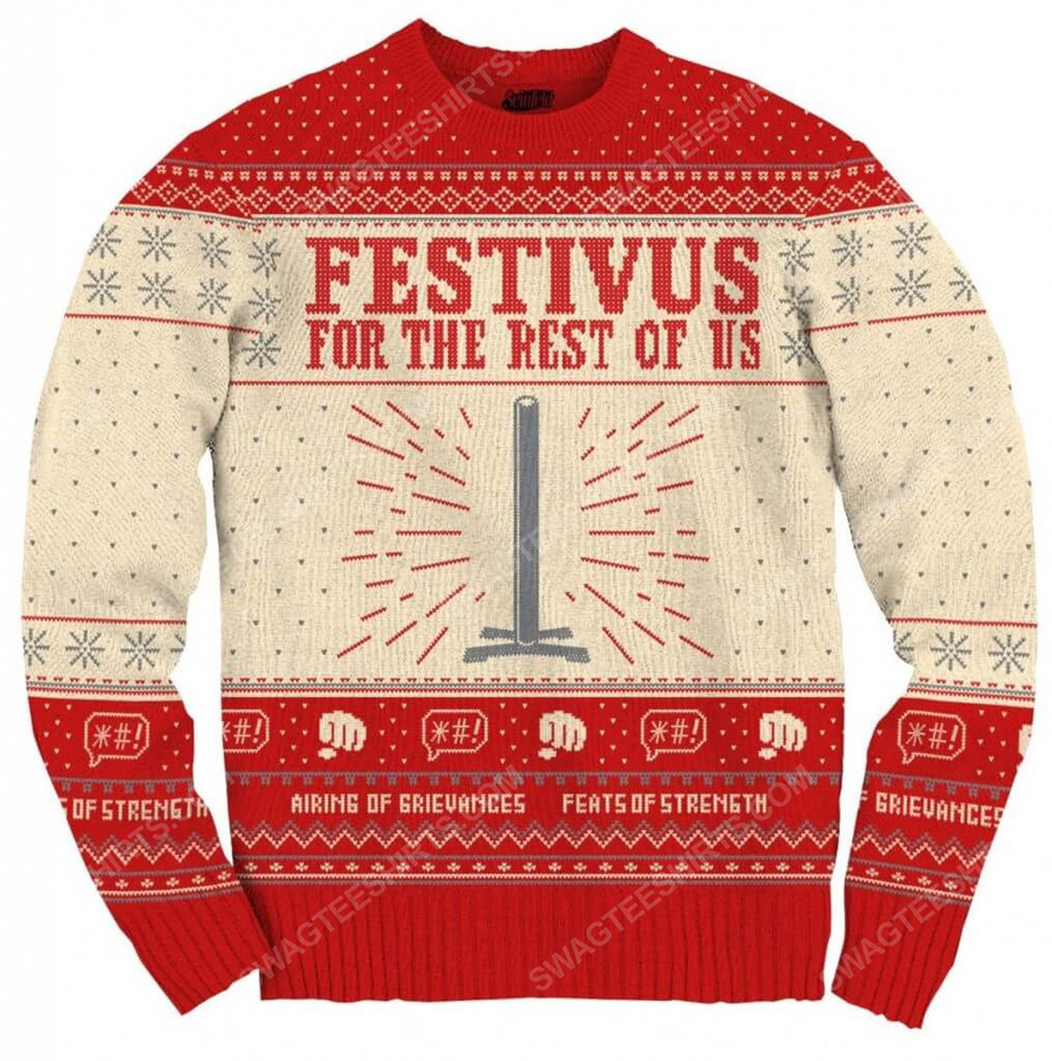 Seinfeld festivus for the rest of us pole full print ugly christmas sweater 2
