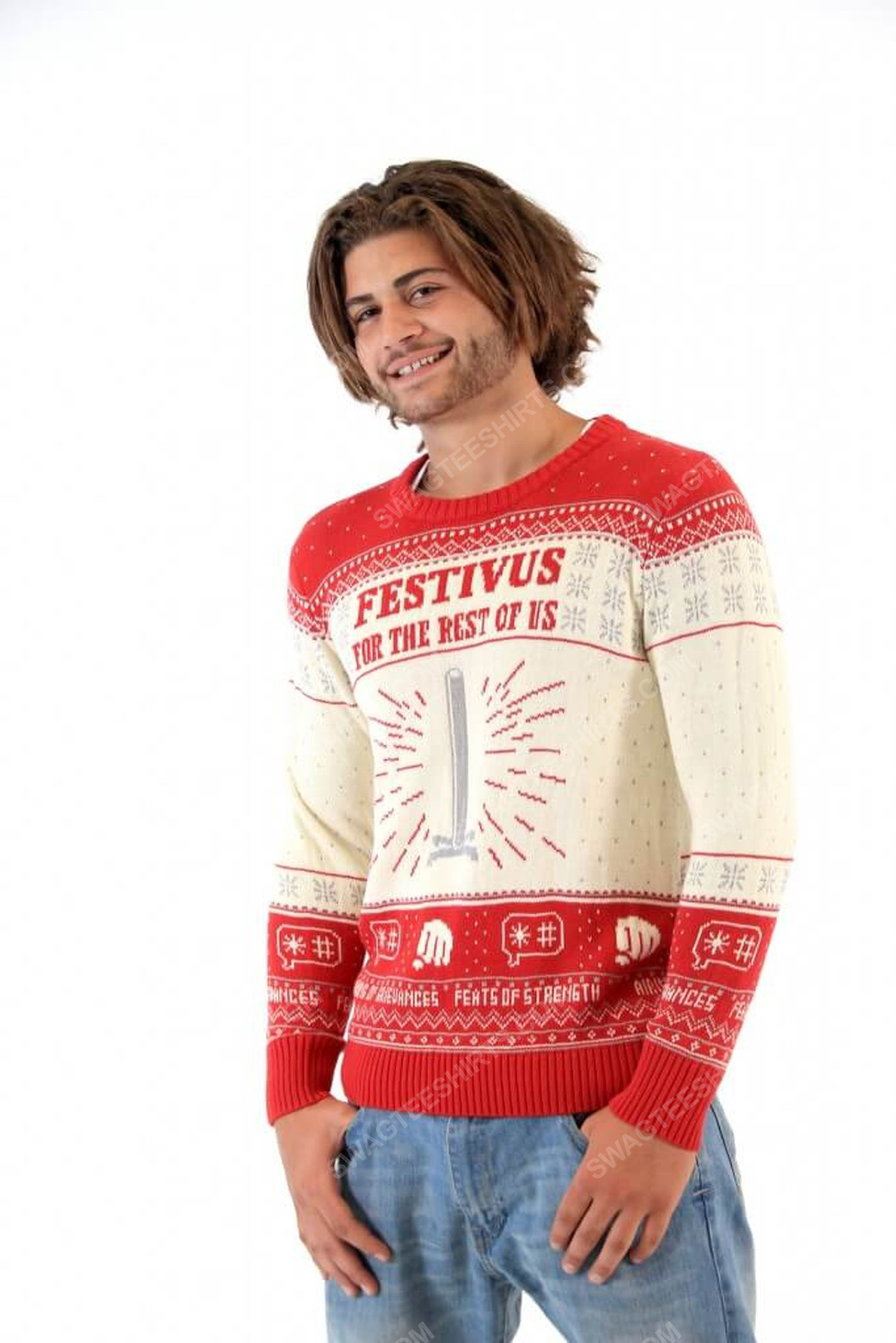 Seinfeld festivus for the rest of us pole full print ugly christmas sweater 4
