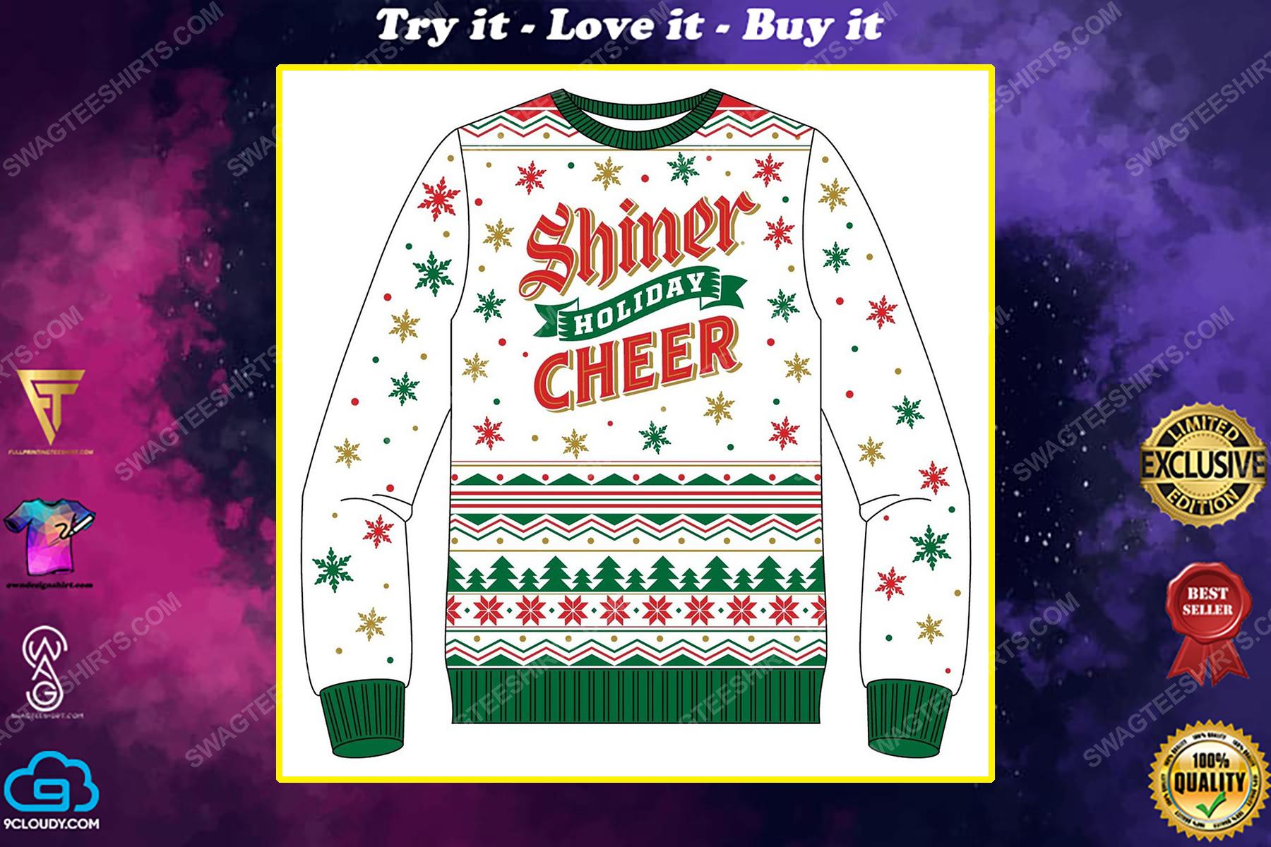 Shiner holiday cheer full print ugly christmas sweater