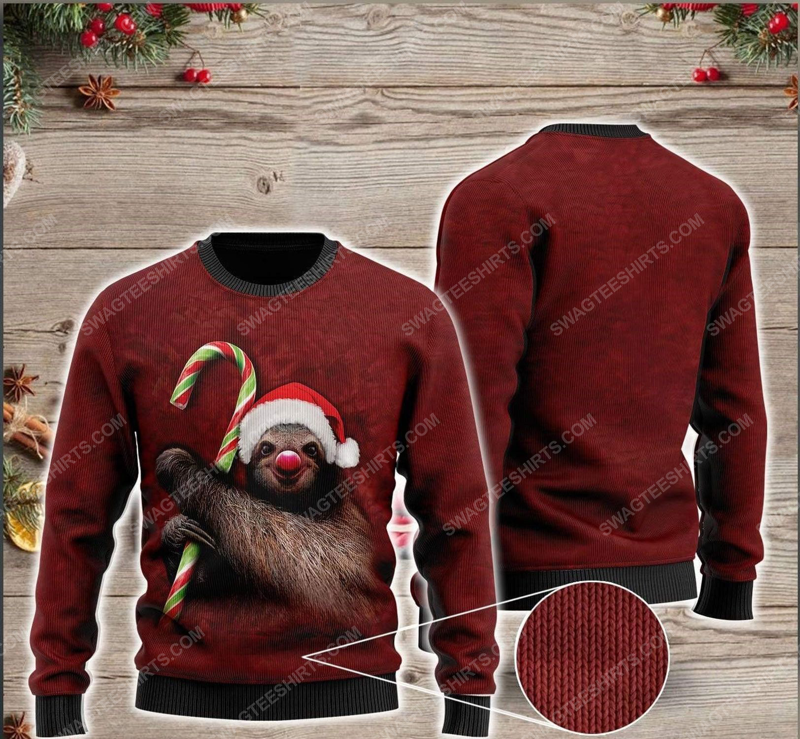 Sloth and candy cane all over print ugly christmas sweater 1 - Copy (2)