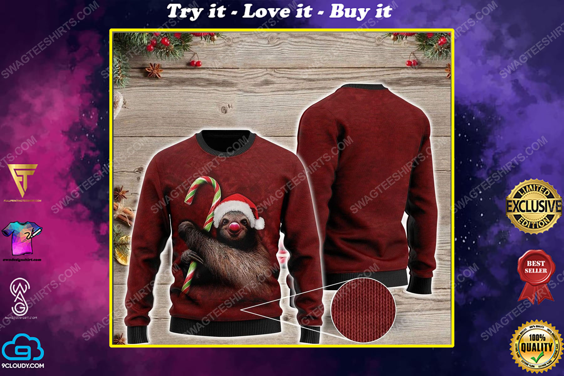 Sloth and candy cane all over print ugly christmas sweater