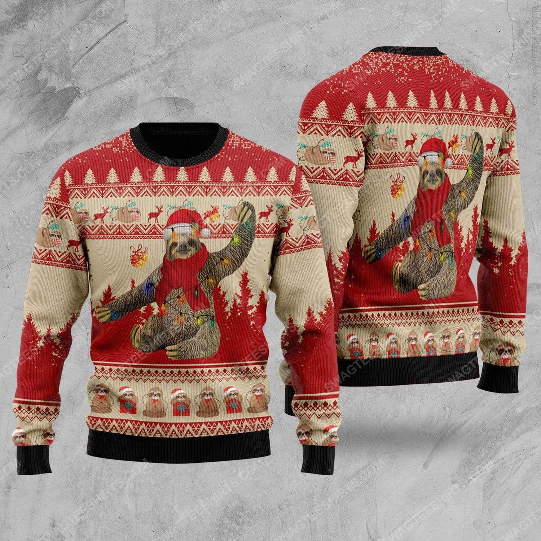 Sloth with christmas lights all over print ugly christmas sweater 2