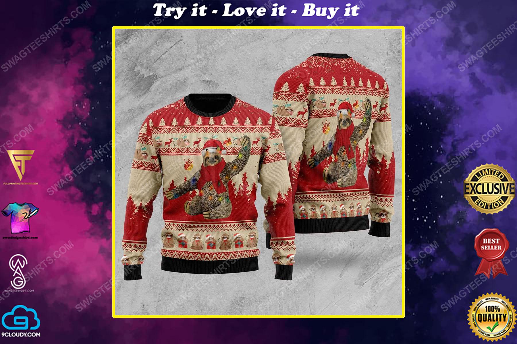 Sloth with christmas lights all over print ugly christmas sweater