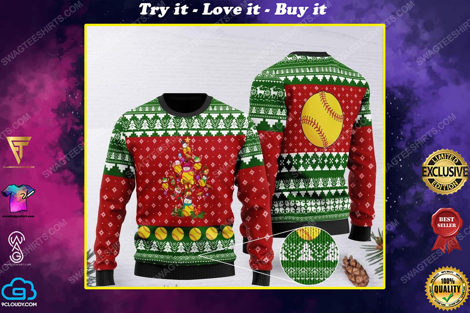 Softball and christmas tree all over print ugly christmas sweater