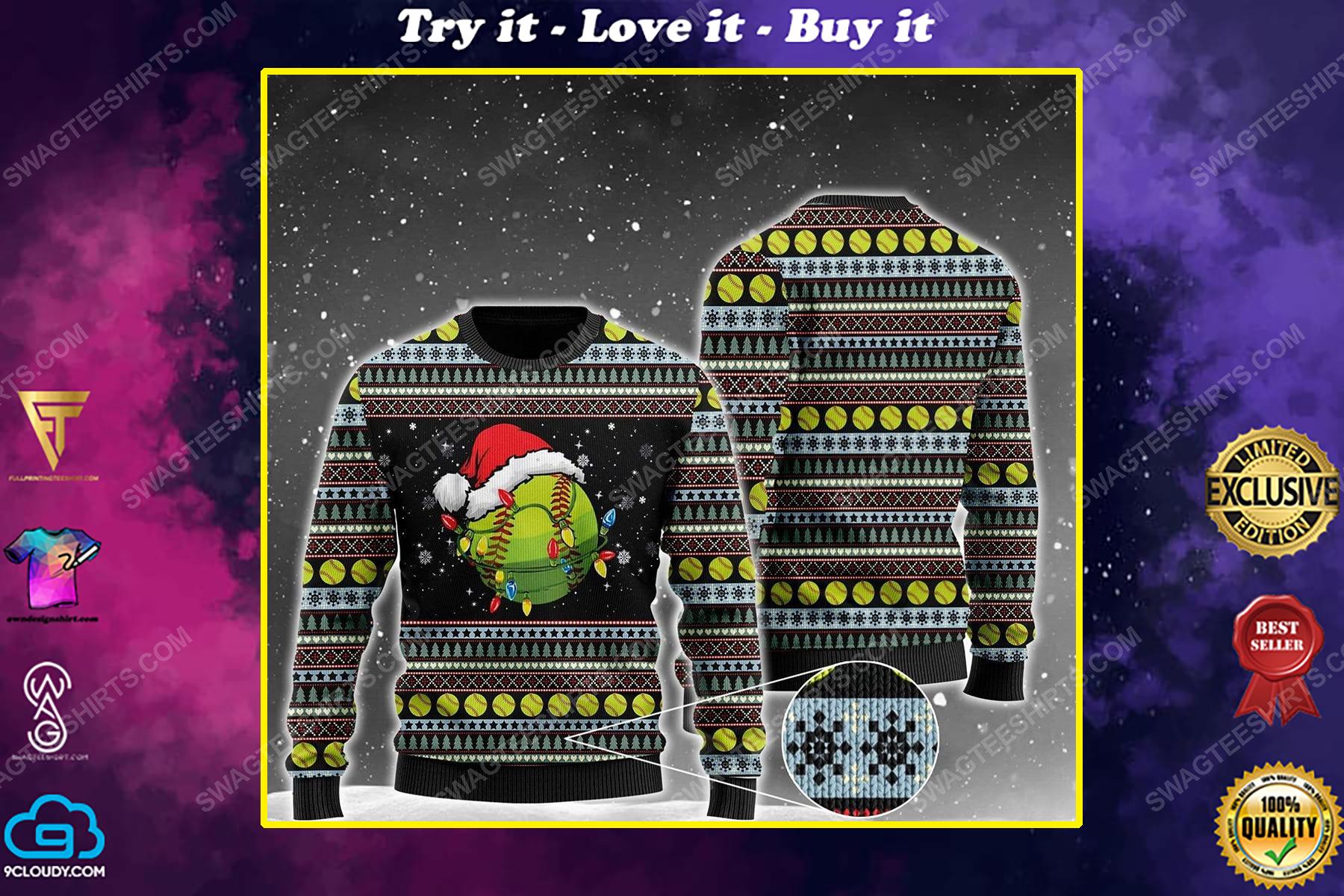 Softball christmas light all over print ugly christmas sweater