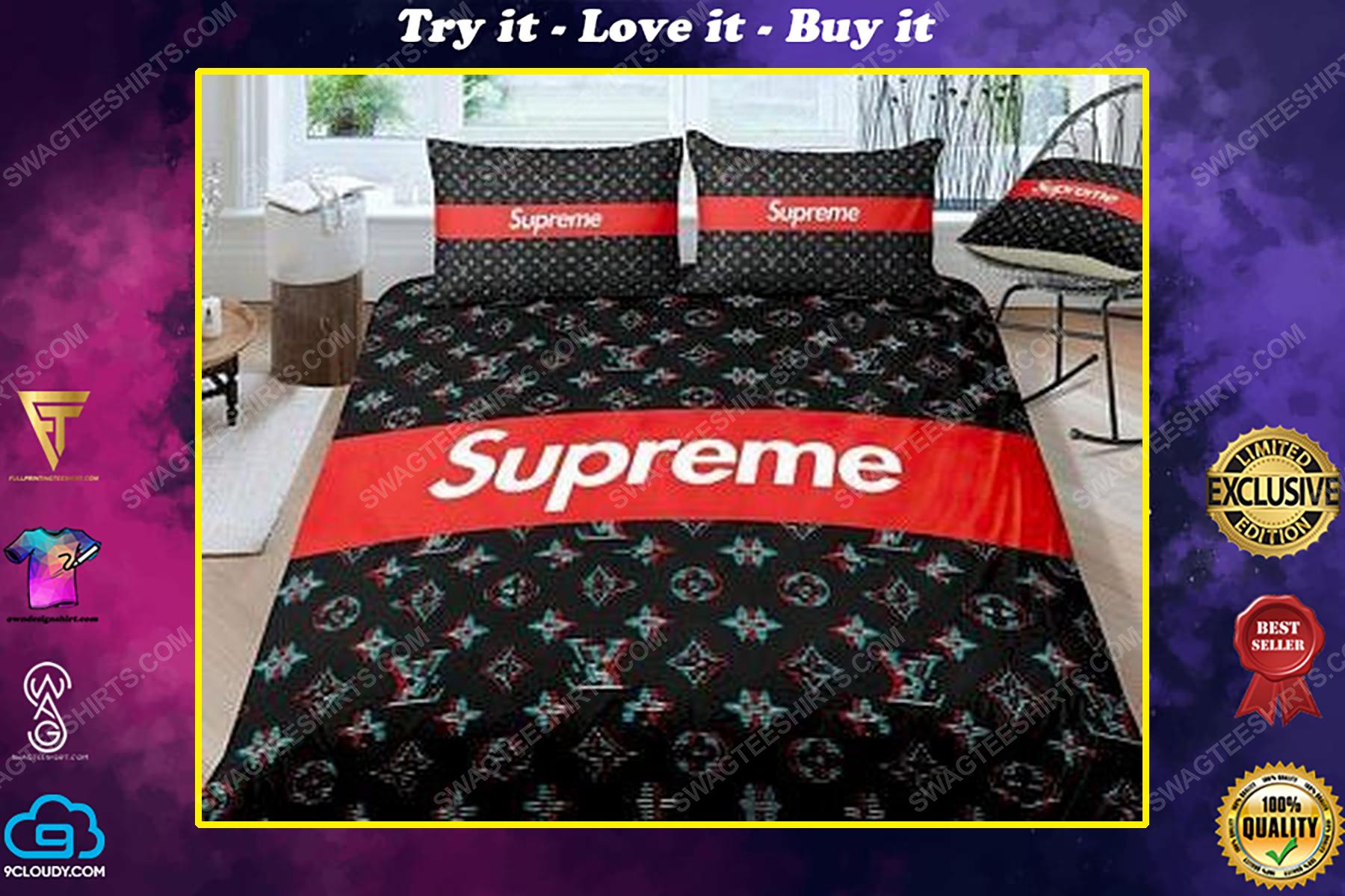 Supreme and lv full print duvet cover bedding set