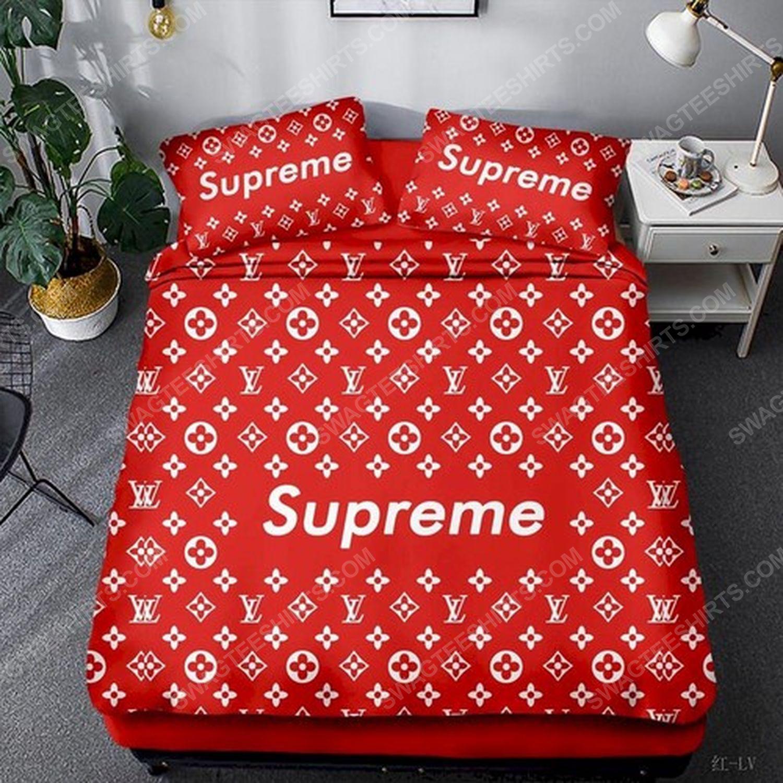 Supreme and lv monogram symbols full print duvet cover bedding set 2