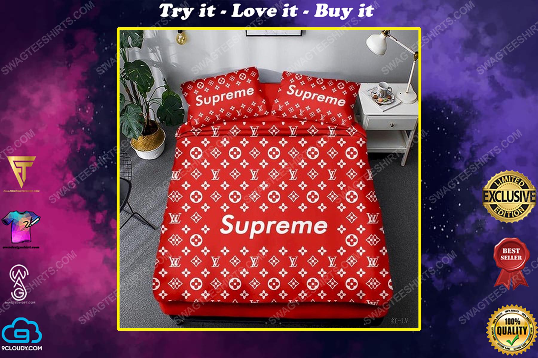 Supreme and lv monogram symbols full print duvet cover bedding set