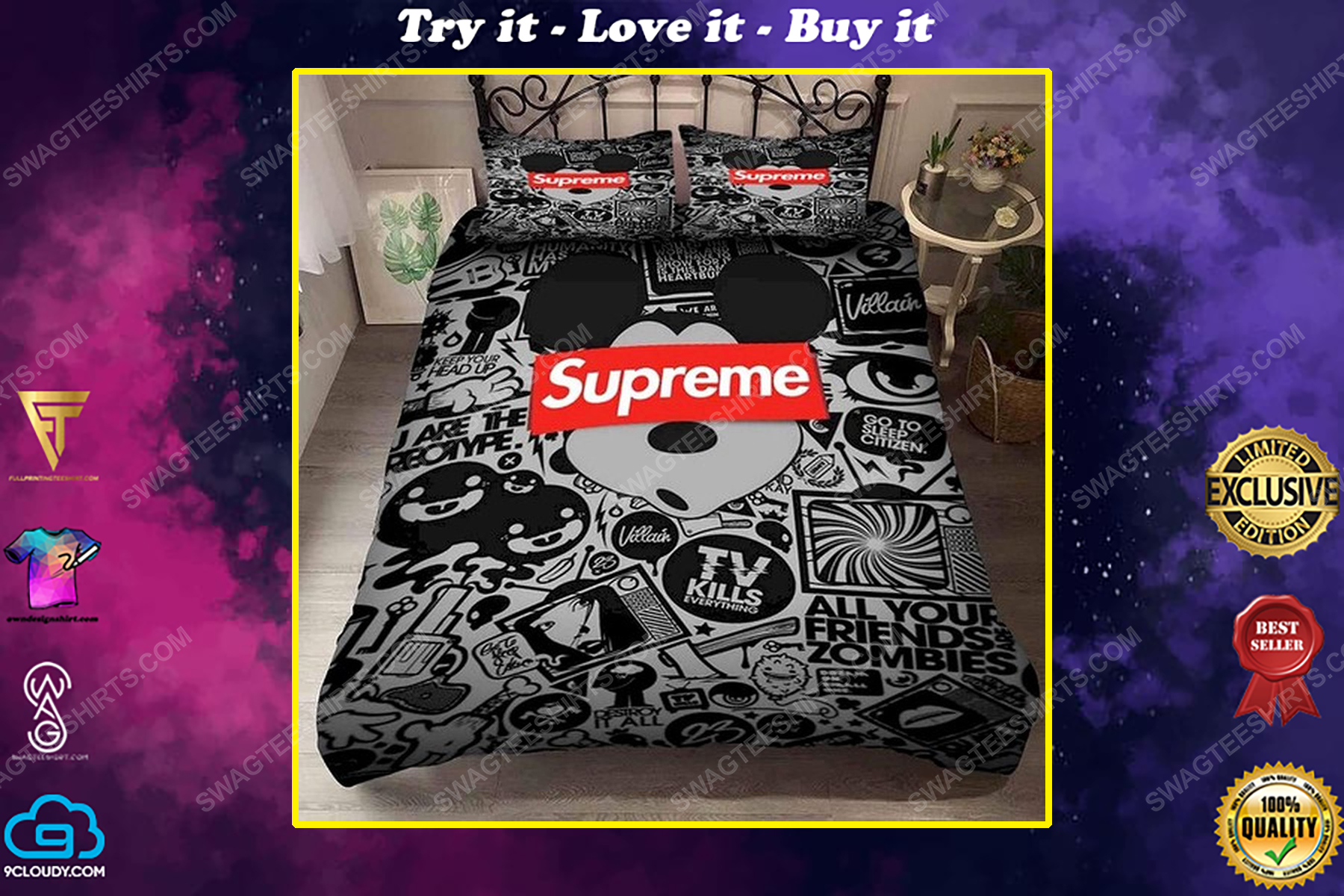 Supreme and mickey mouse full print duvet cover bedding set