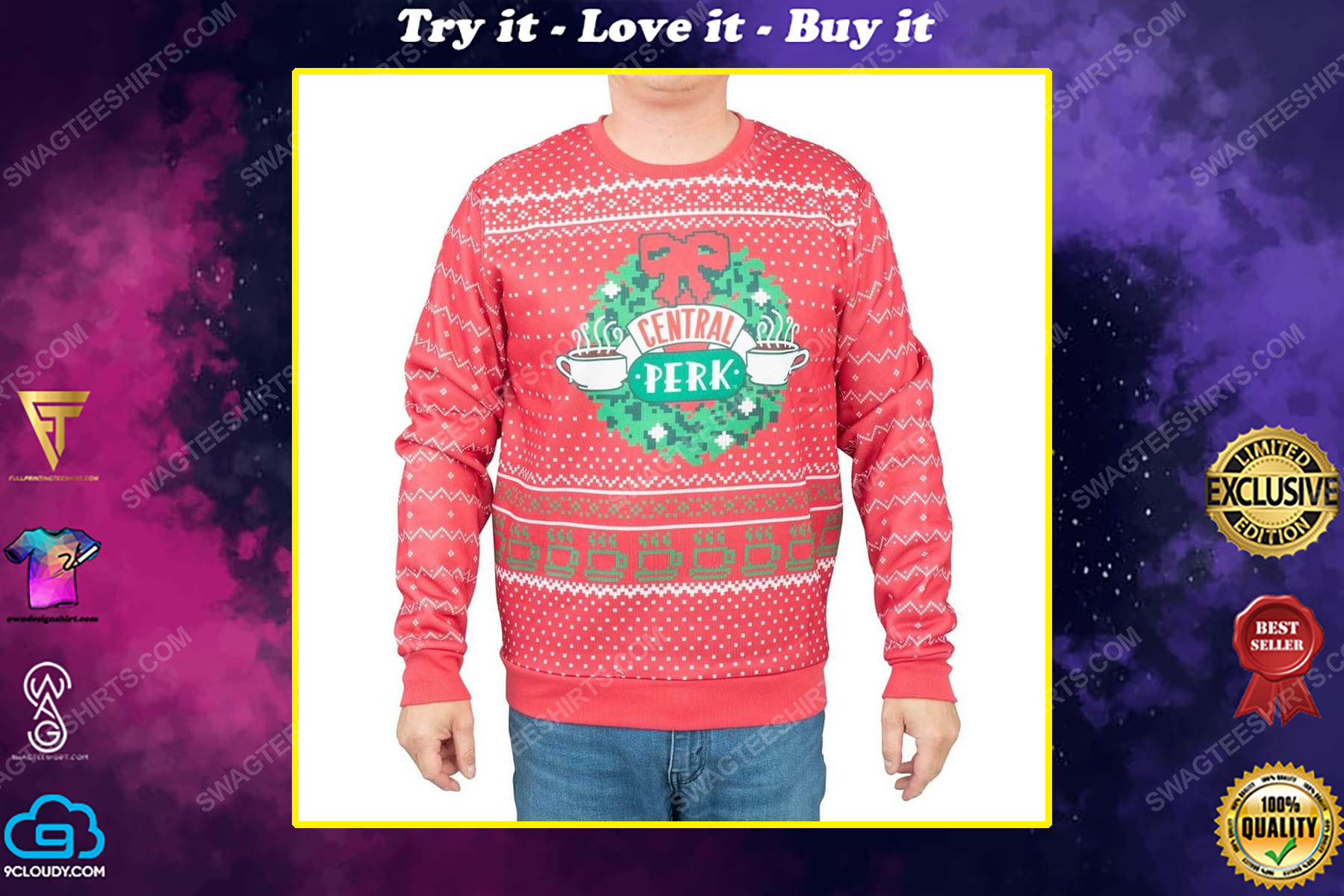 TV show friends central perk full print ugly christmas sweater