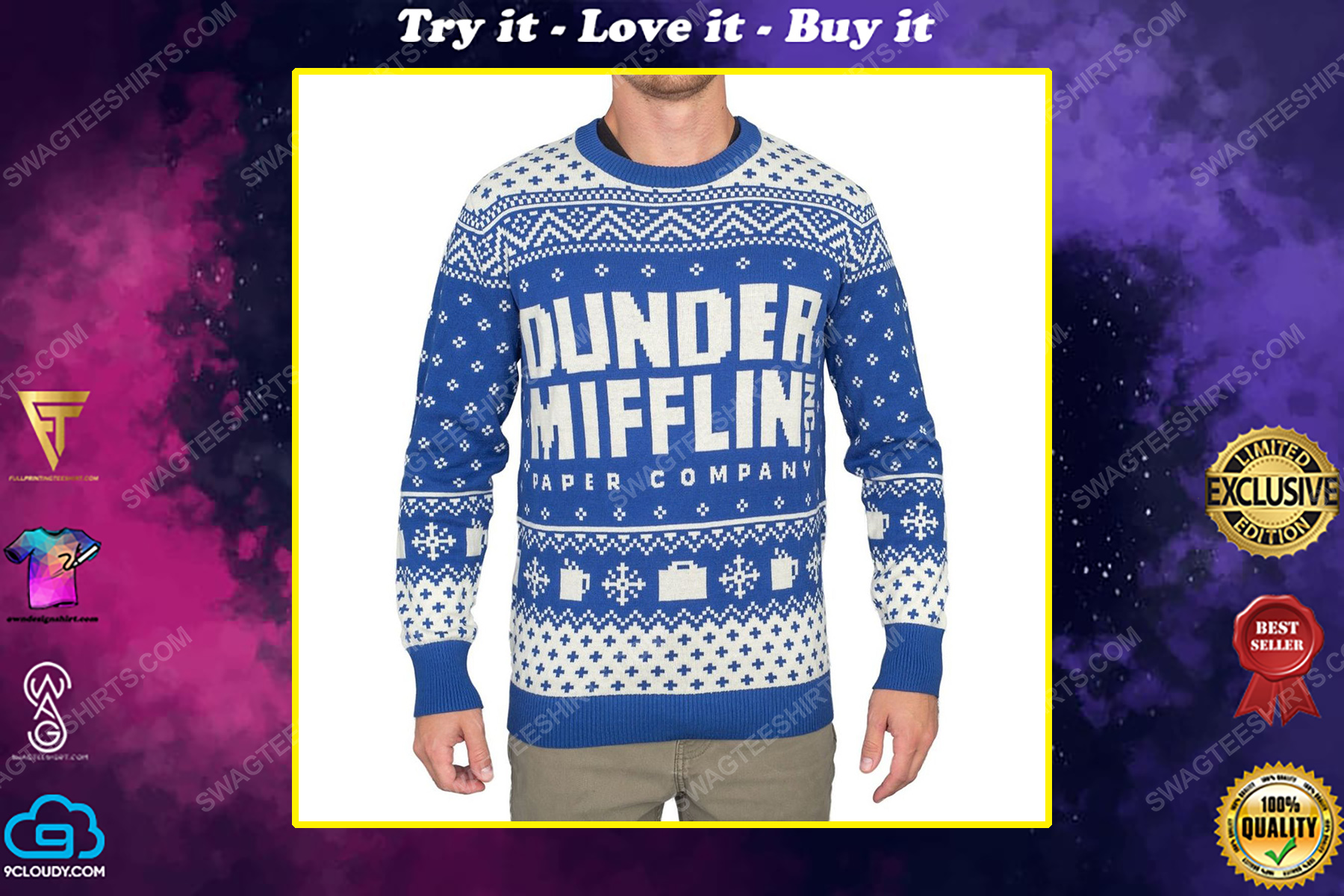 TV show the office dunder mifflin full print ugly christmas sweater