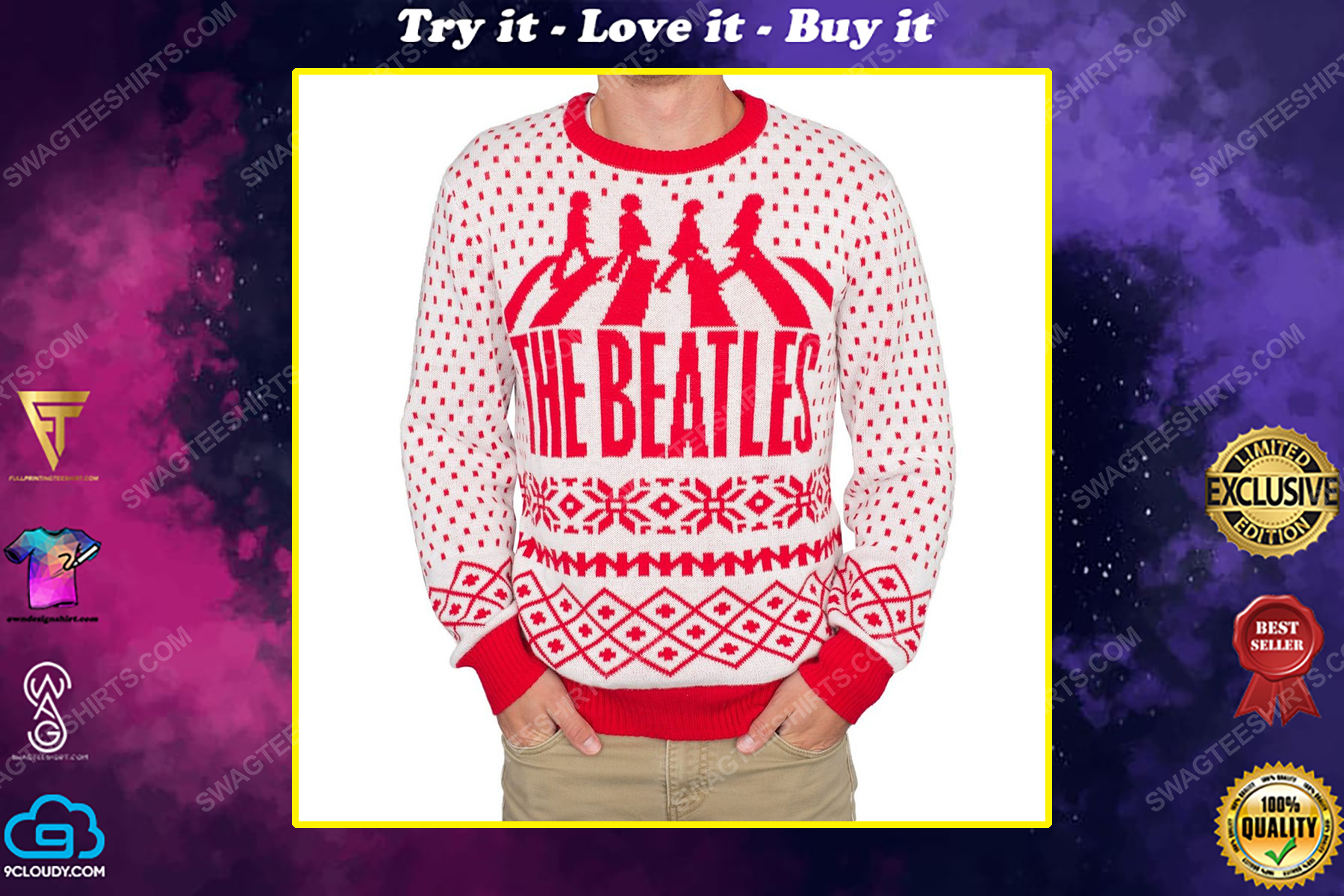 The beatles abbey road full print ugly christmas sweater