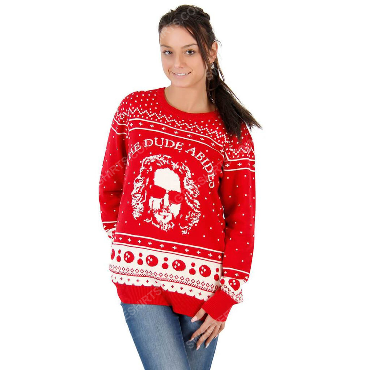 The big lebowski the dude abides full print ugly christmas sweater 2