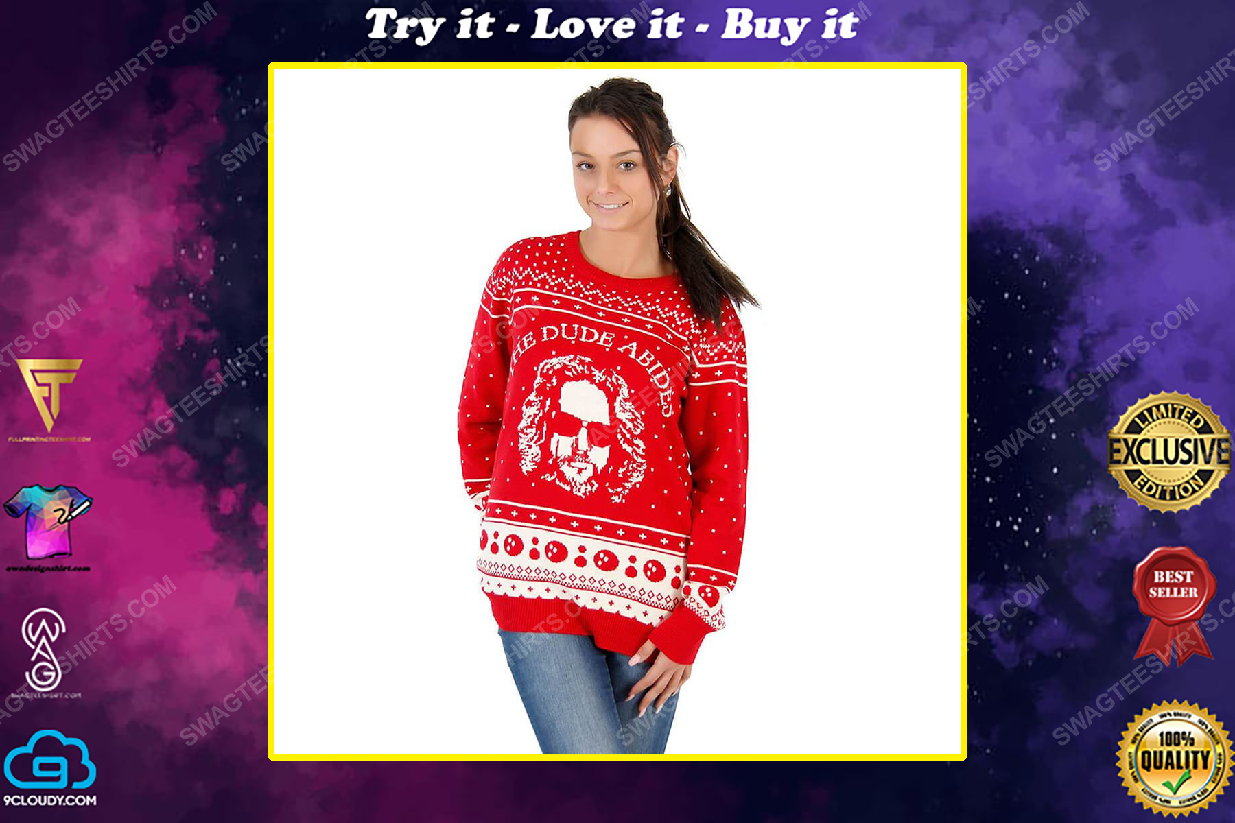 The big lebowski the dude abides full print ugly christmas sweater