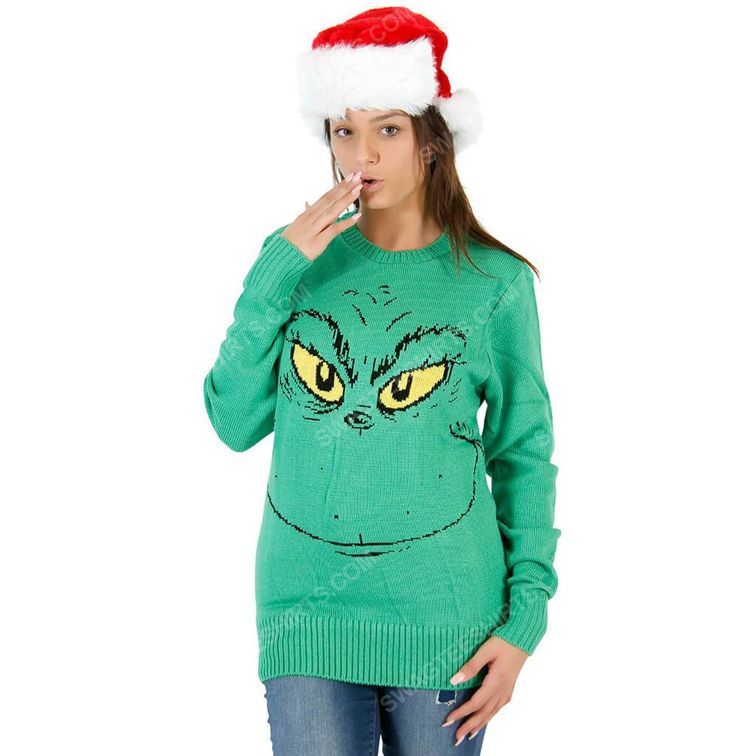 The grinch face full print ugly christmas sweater 2