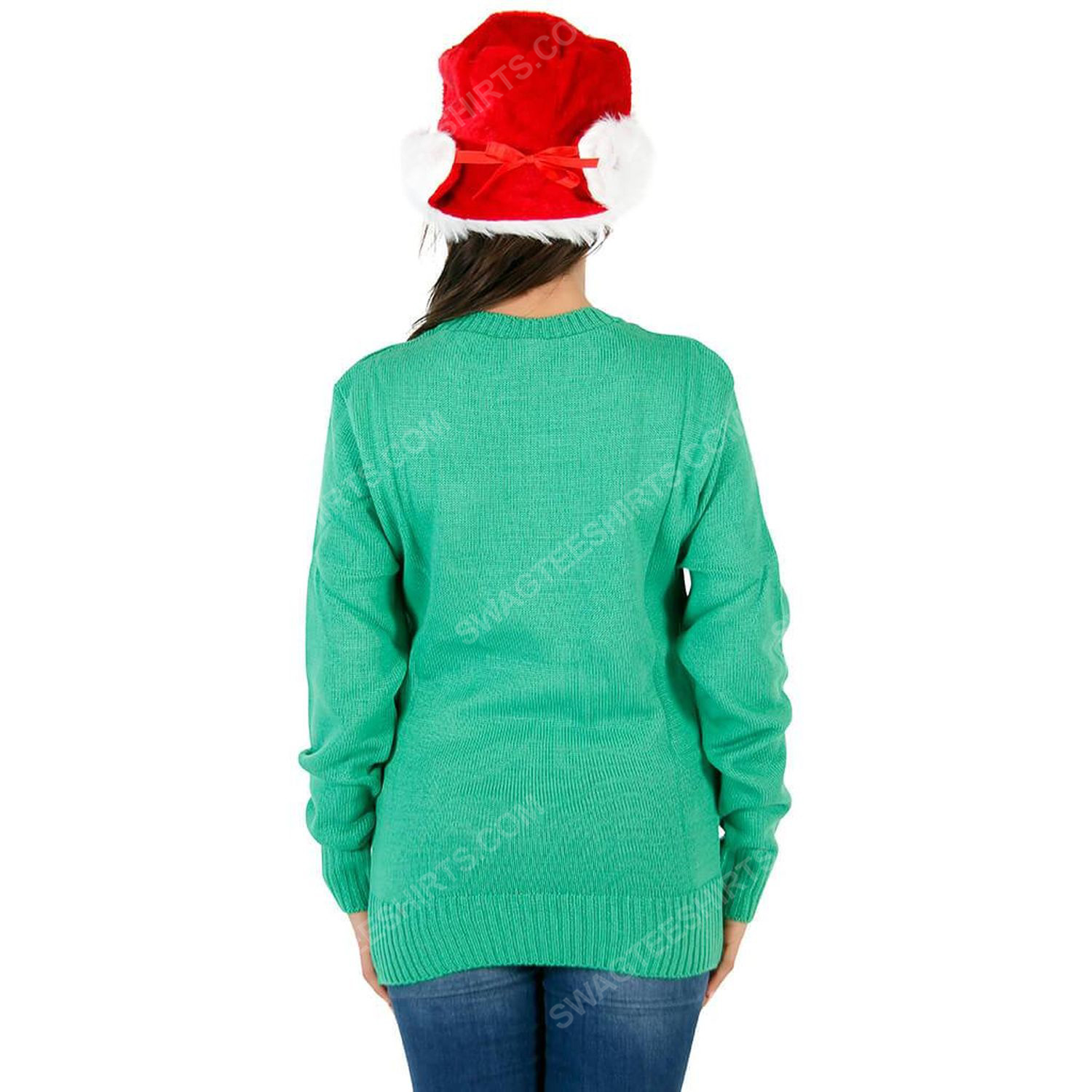 The grinch face full print ugly christmas sweater 3