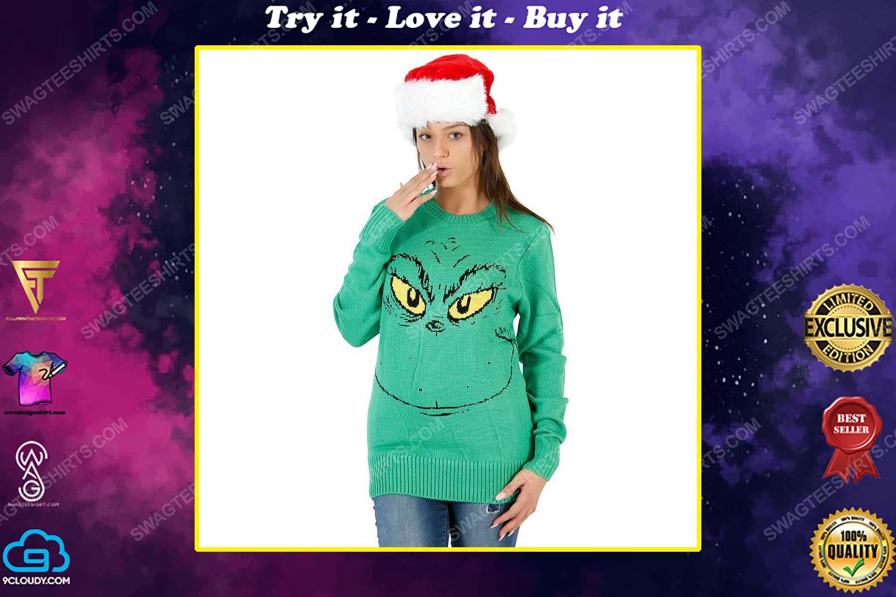 The grinch face full print ugly christmas sweater