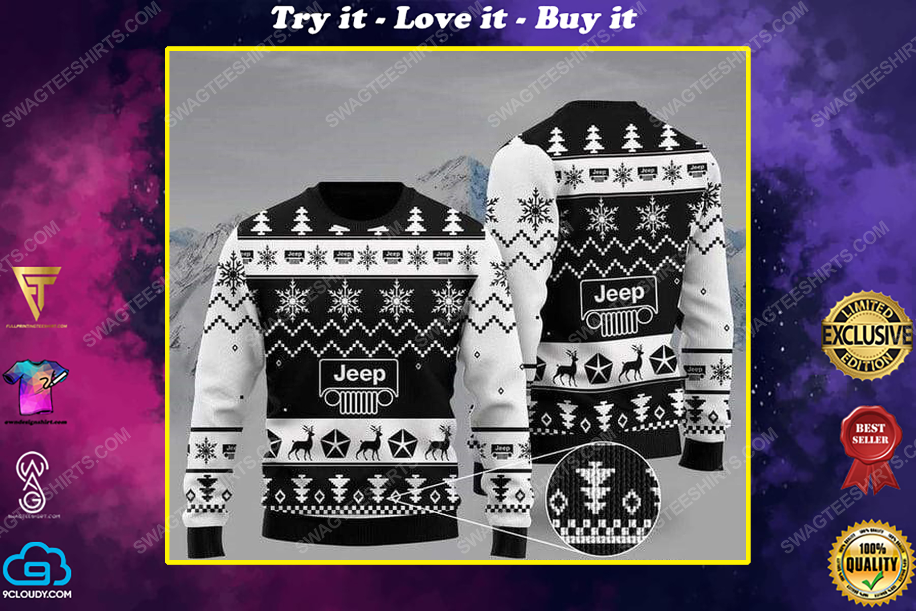The jeep car all over print ugly christmas sweater