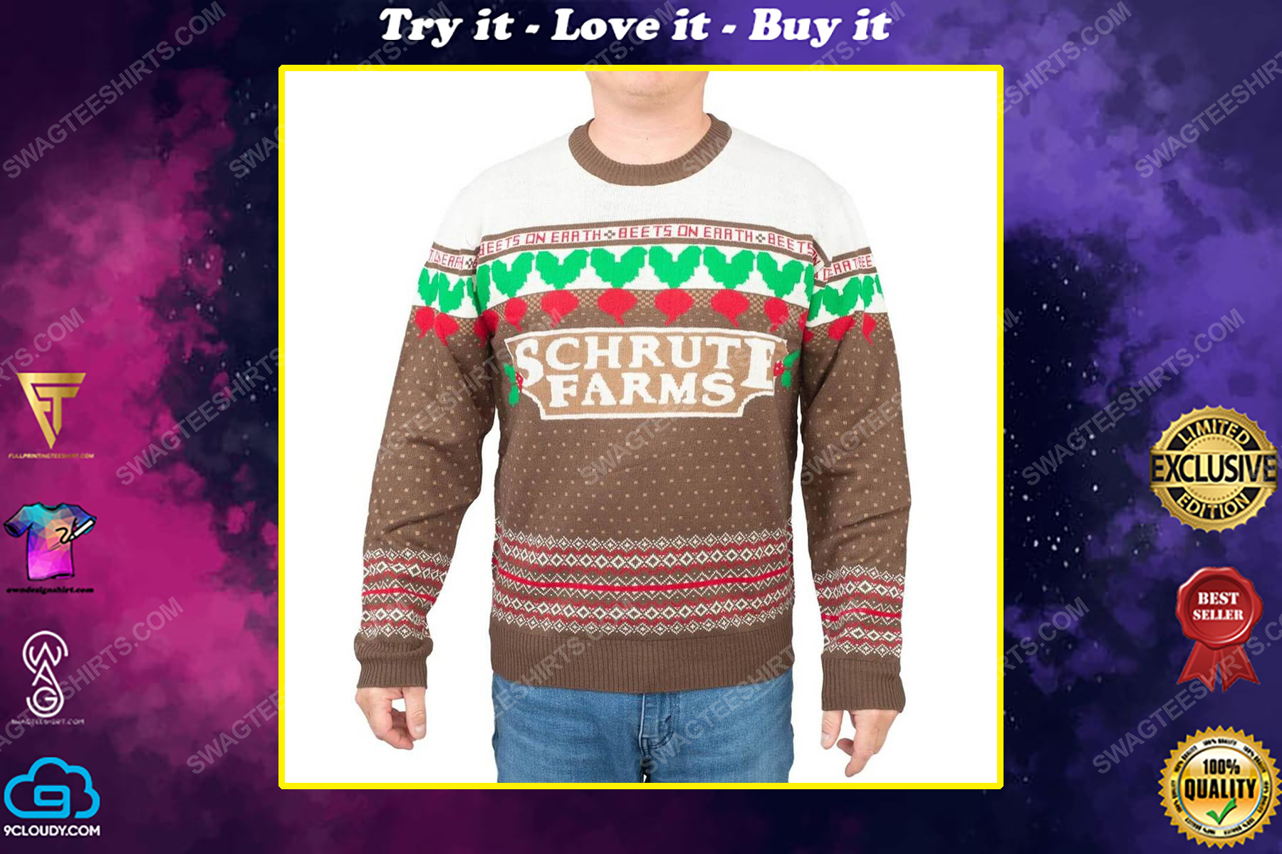 The office dwight schrute farms beets full print ugly christmas sweater
