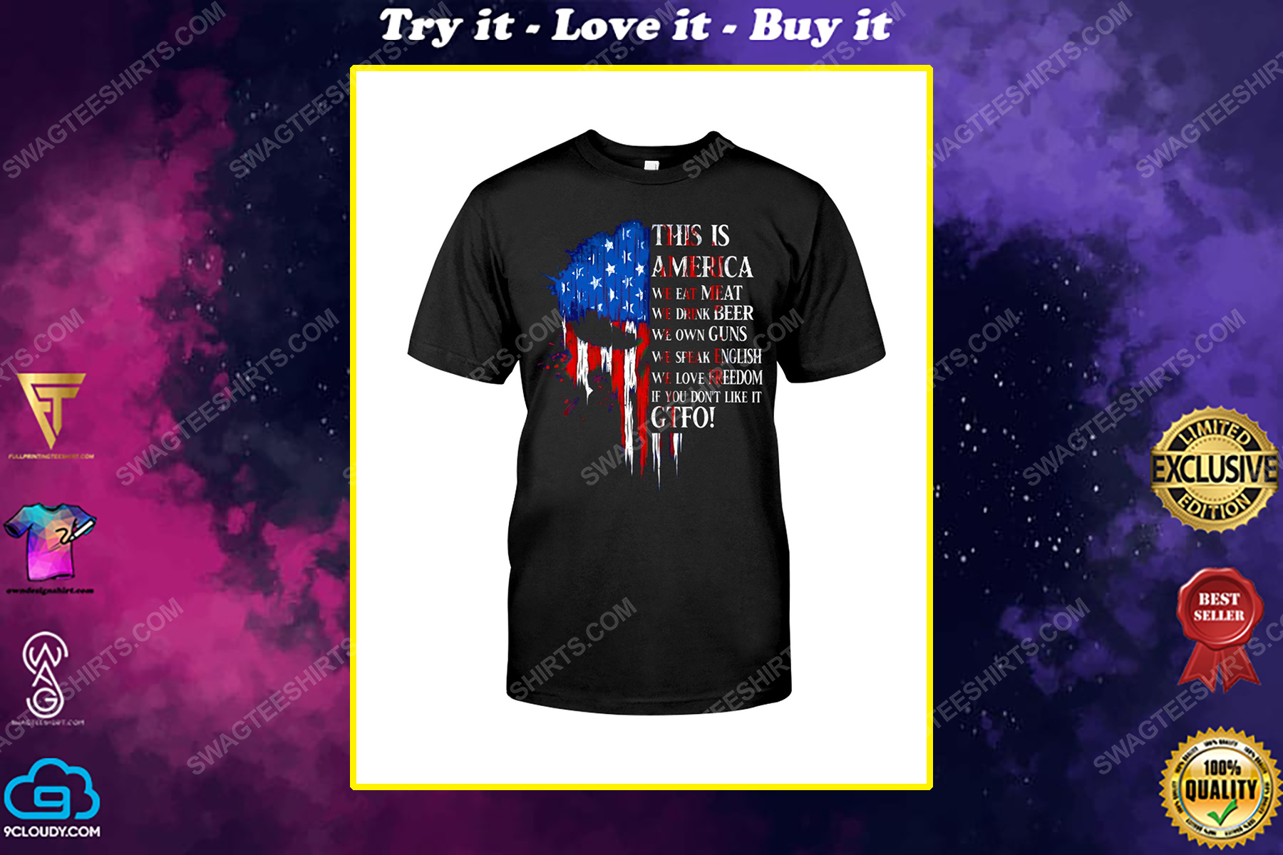 This is america we eat meat we drink beer we own guns political shirt