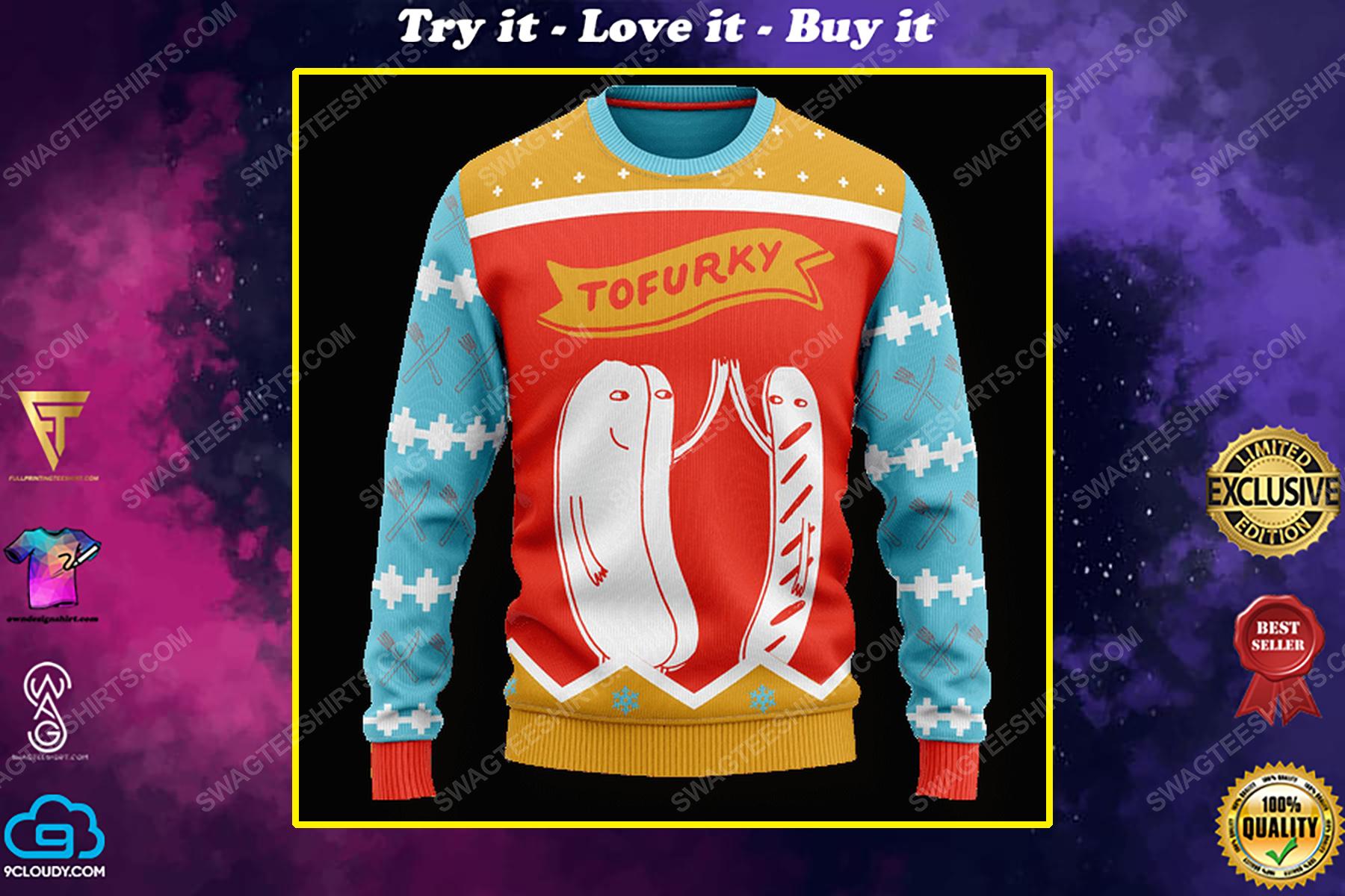 Tofurky high five full print ugly christmas sweater
