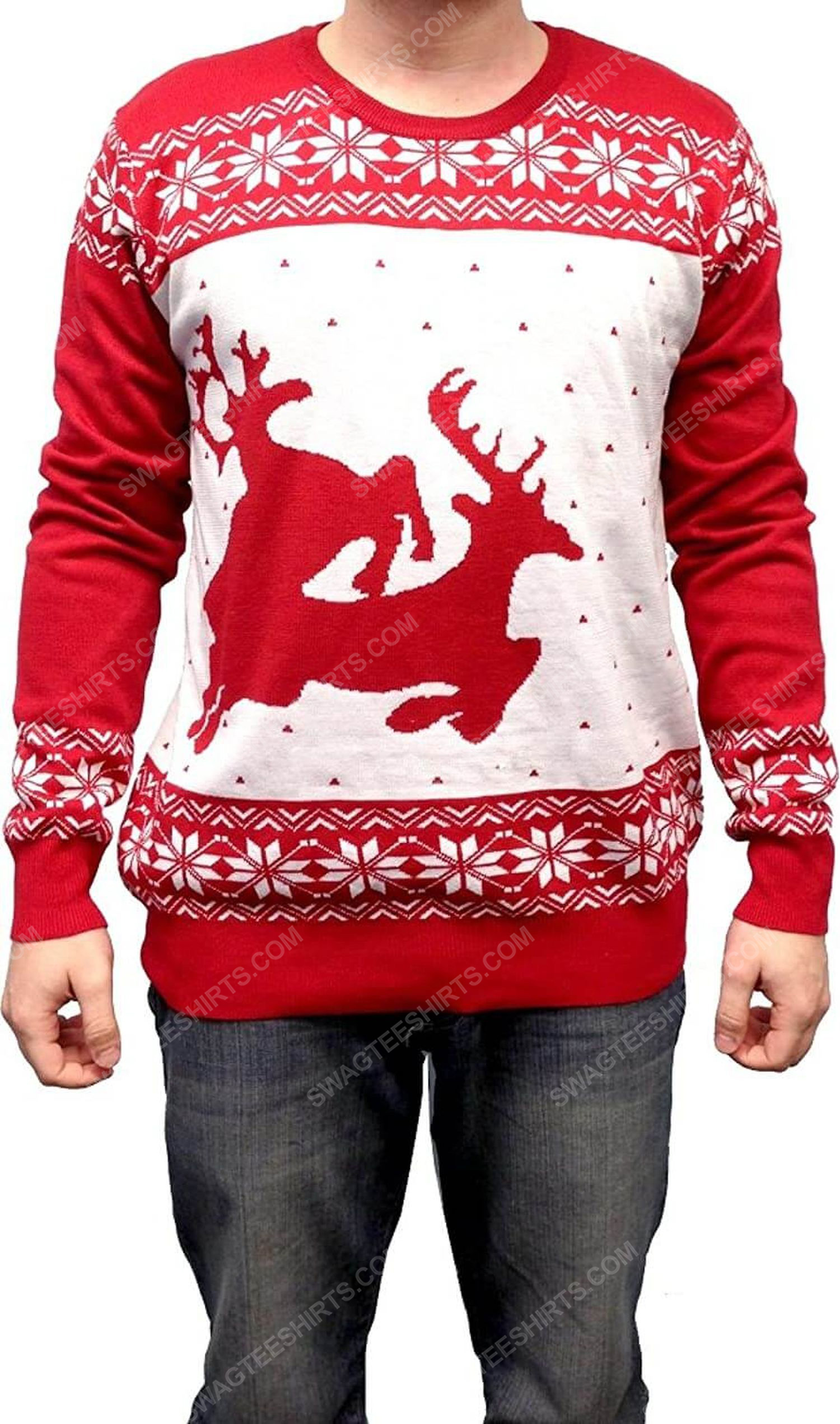 Two big humping reindeer full print ugly christmas sweater 2