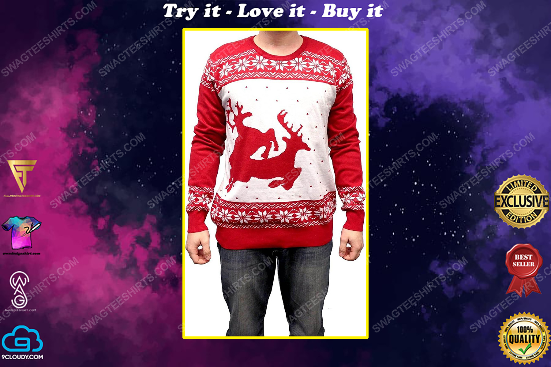 Two big humping reindeer full print ugly christmas sweater