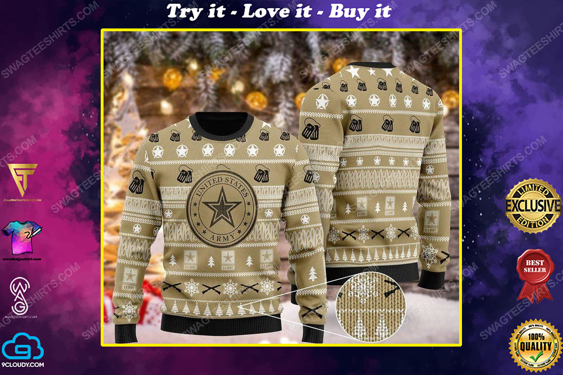 United states army all over print ugly christmas sweater