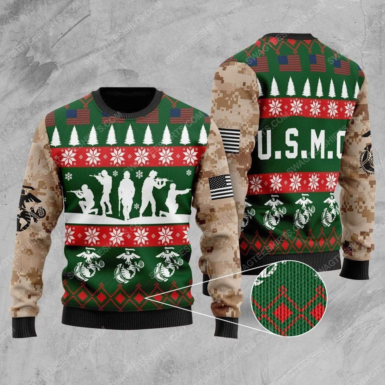 United states marine corps all over print ugly christmas sweater 3