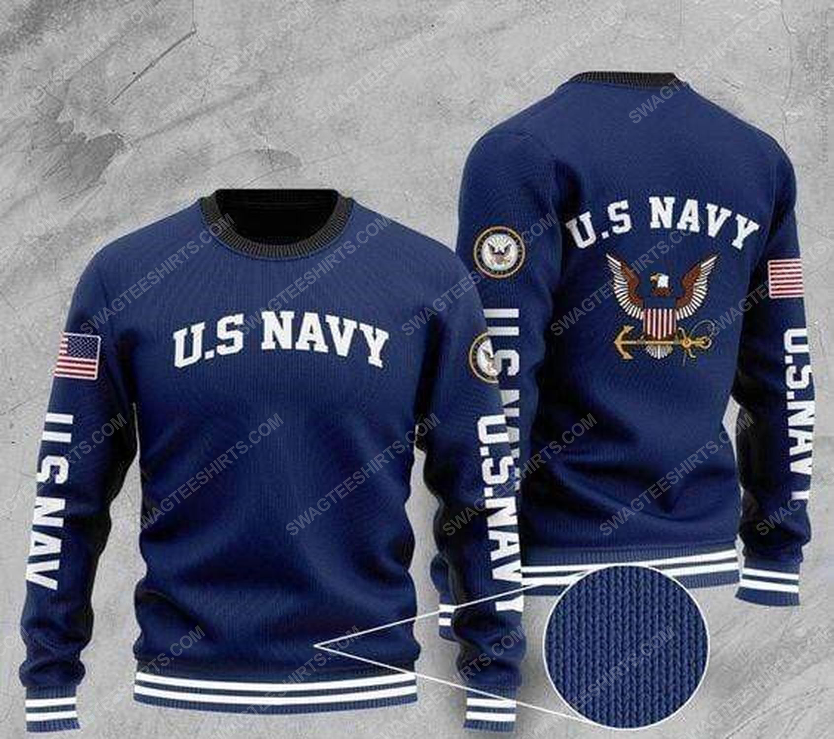 United states navy all over print ugly christmas sweater 1